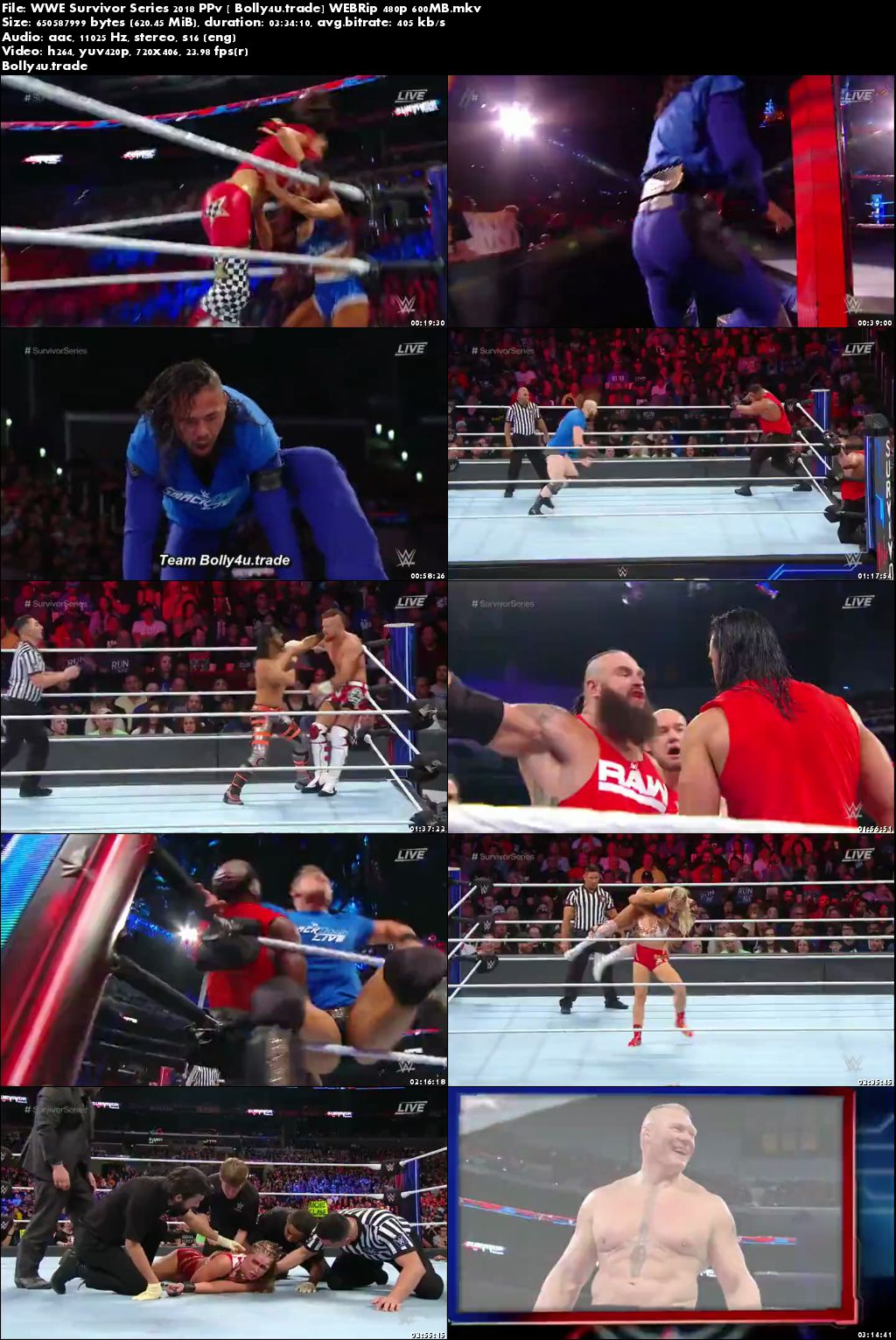 WWE Survivor Series 2018 WEBRip 600MB PPV 480p Download