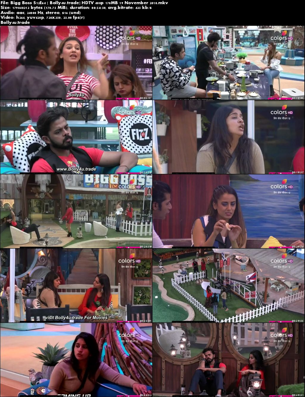 Bigg Boss S12E64 HDTV 480p 170MB 19 November 2018 Download