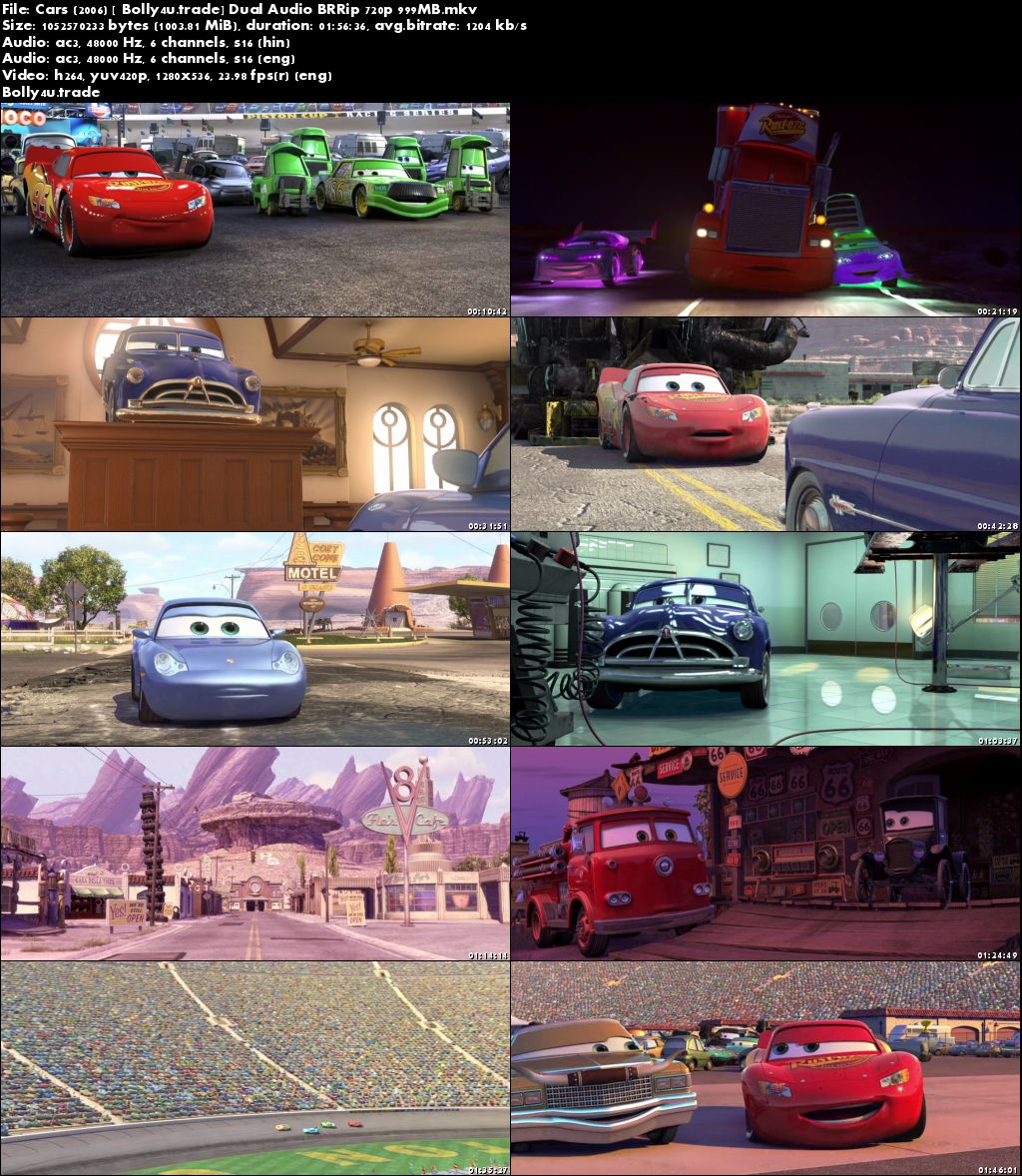 Cars 2006 BRRip 999MB Hindi Dual Audio 720p Download