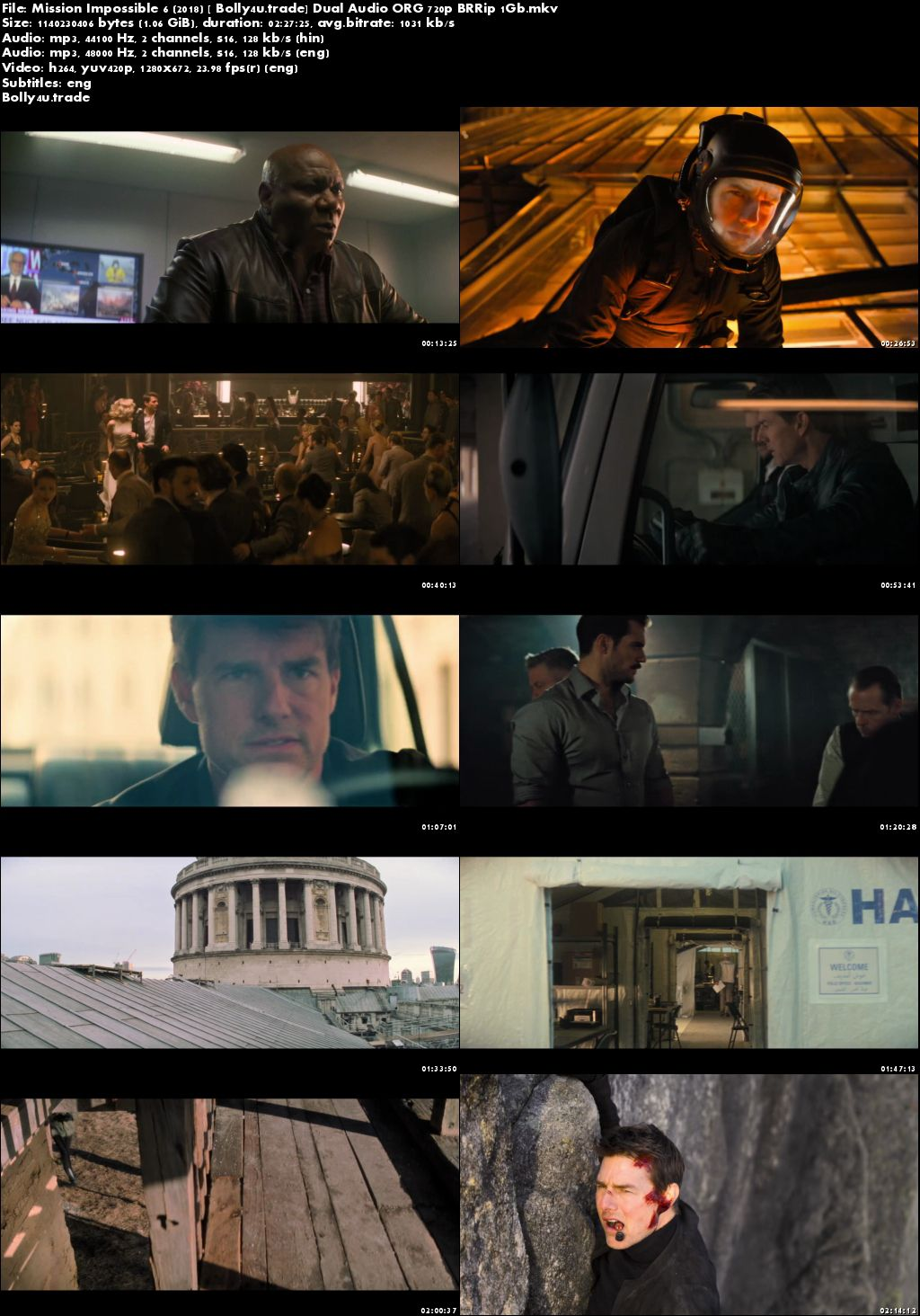 Mission Impossible Fallout 2018 BRRip 1GB Hindi Dual Audio ORG 720p ESub Download