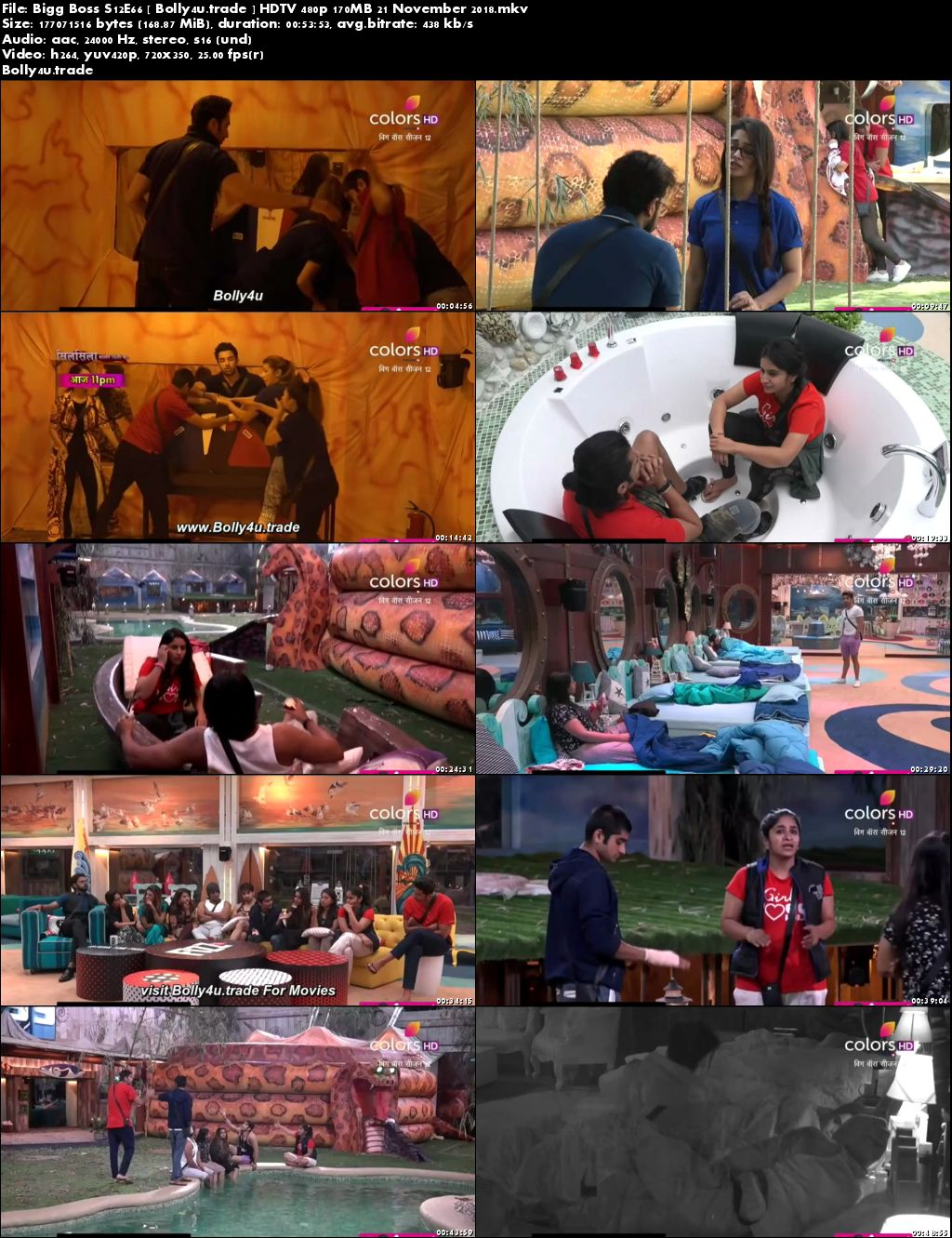 Bigg Boss S12E66 HDTV 480p 170MB 21 November 2018 Download