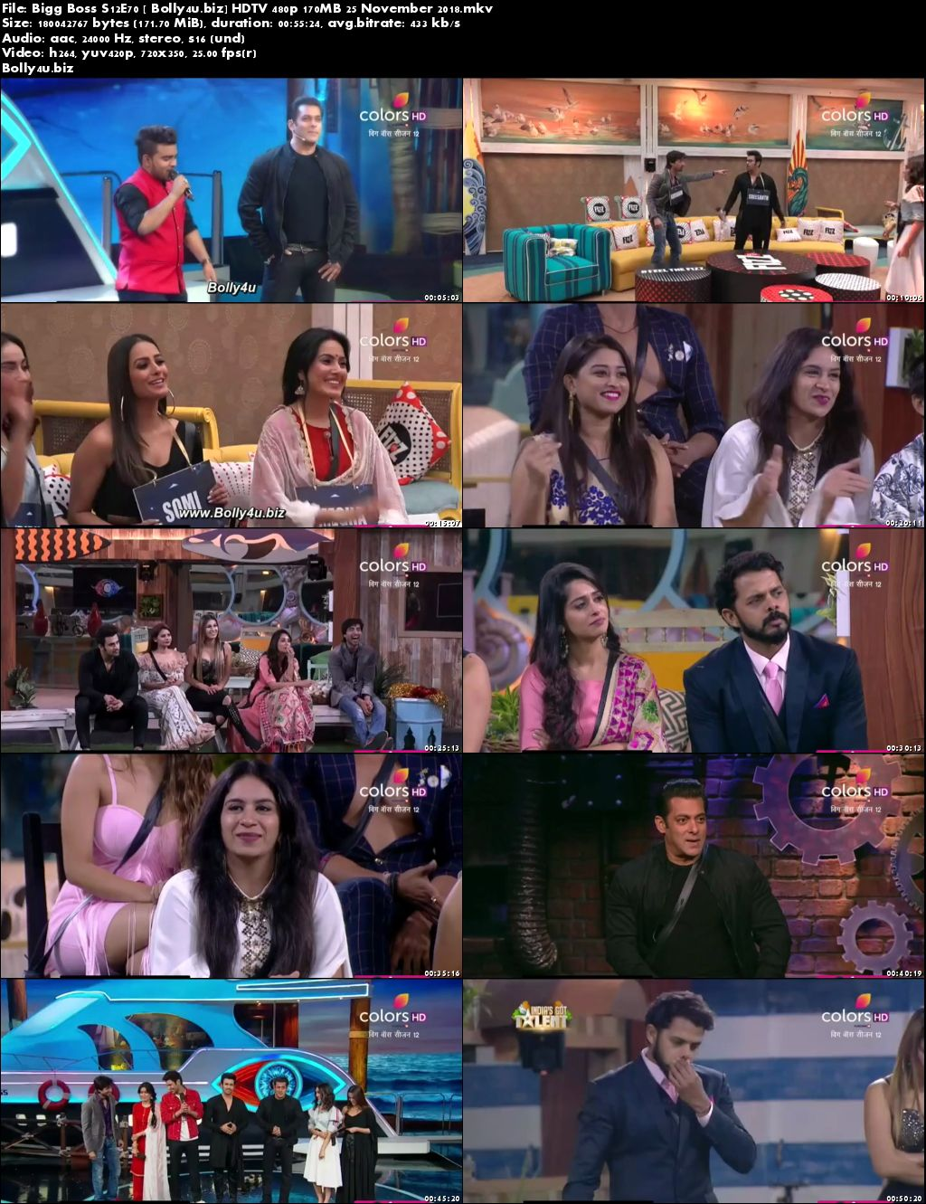 Bigg Boss S12E70 HDTV 480p 170MB 25 November 2018 Download