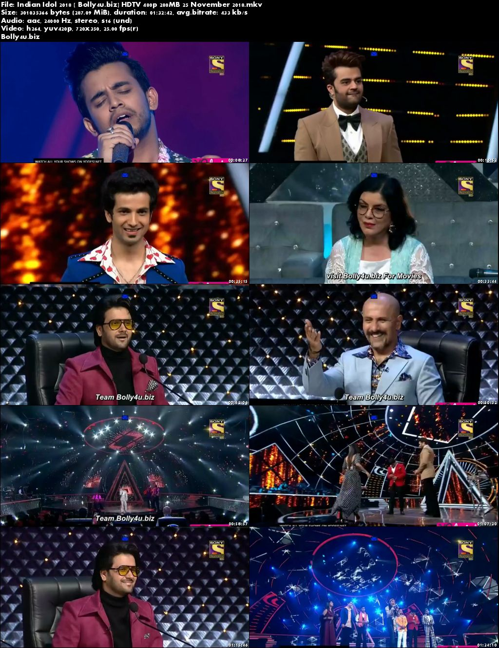 Indian Idol 2018 HDTV 480p 280MB 25 November 2018 Download