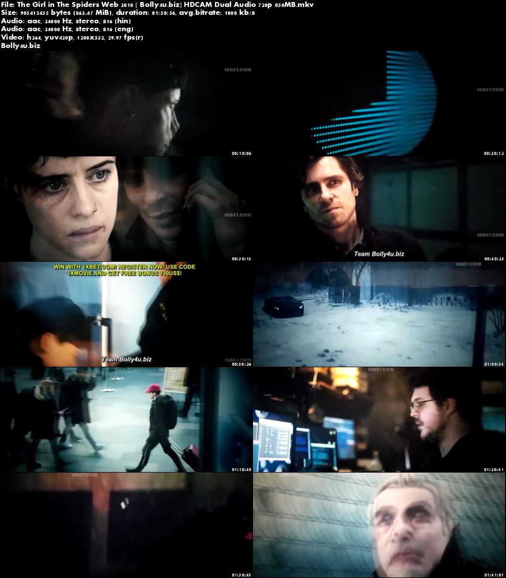 The Girl in The Spiders Web 2018 HDCAM 850Mb Hindi Dual Audio 720p Download