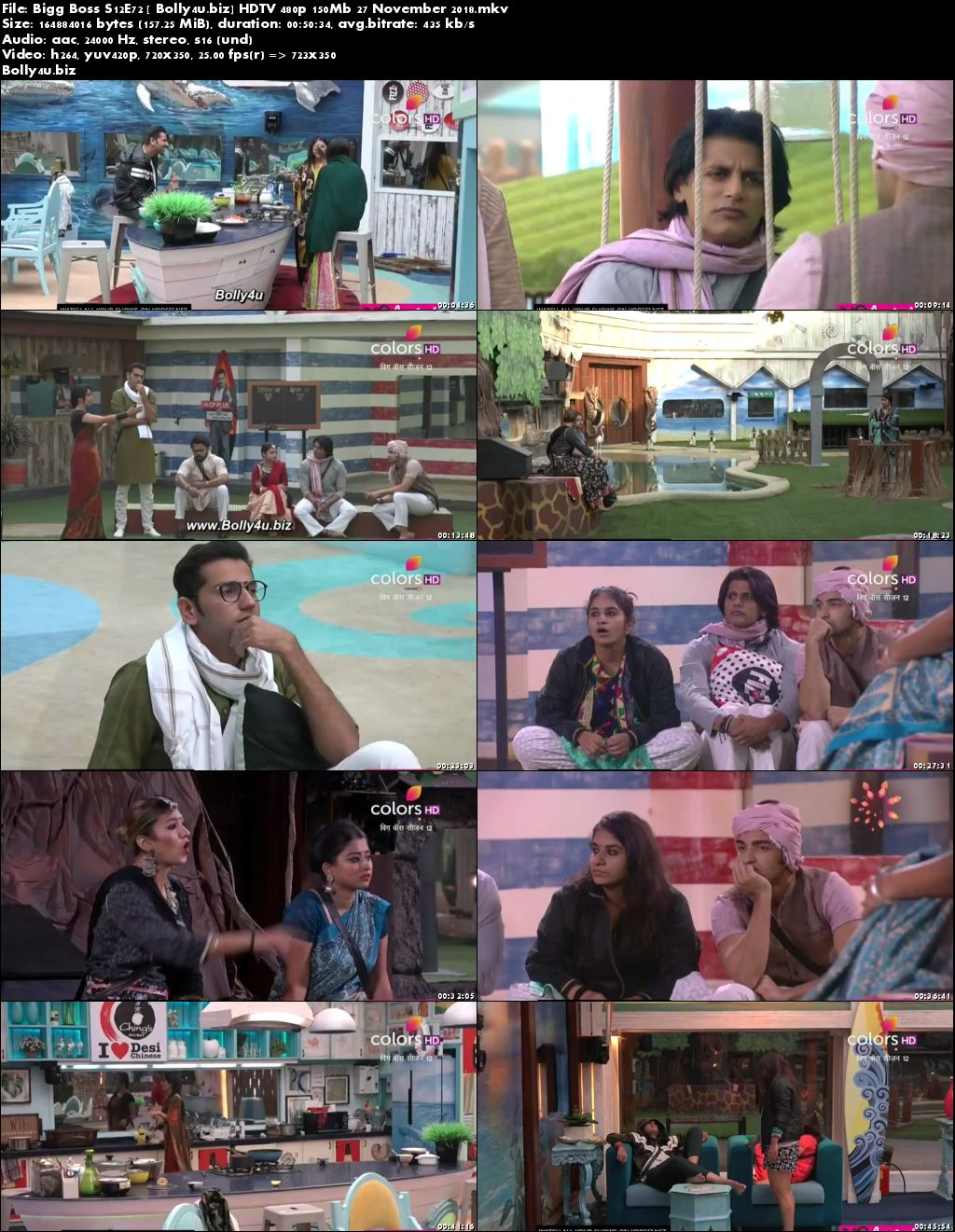 Bigg Boss S12E72 HDTV 480p 150Mb 27 November 2018 Download