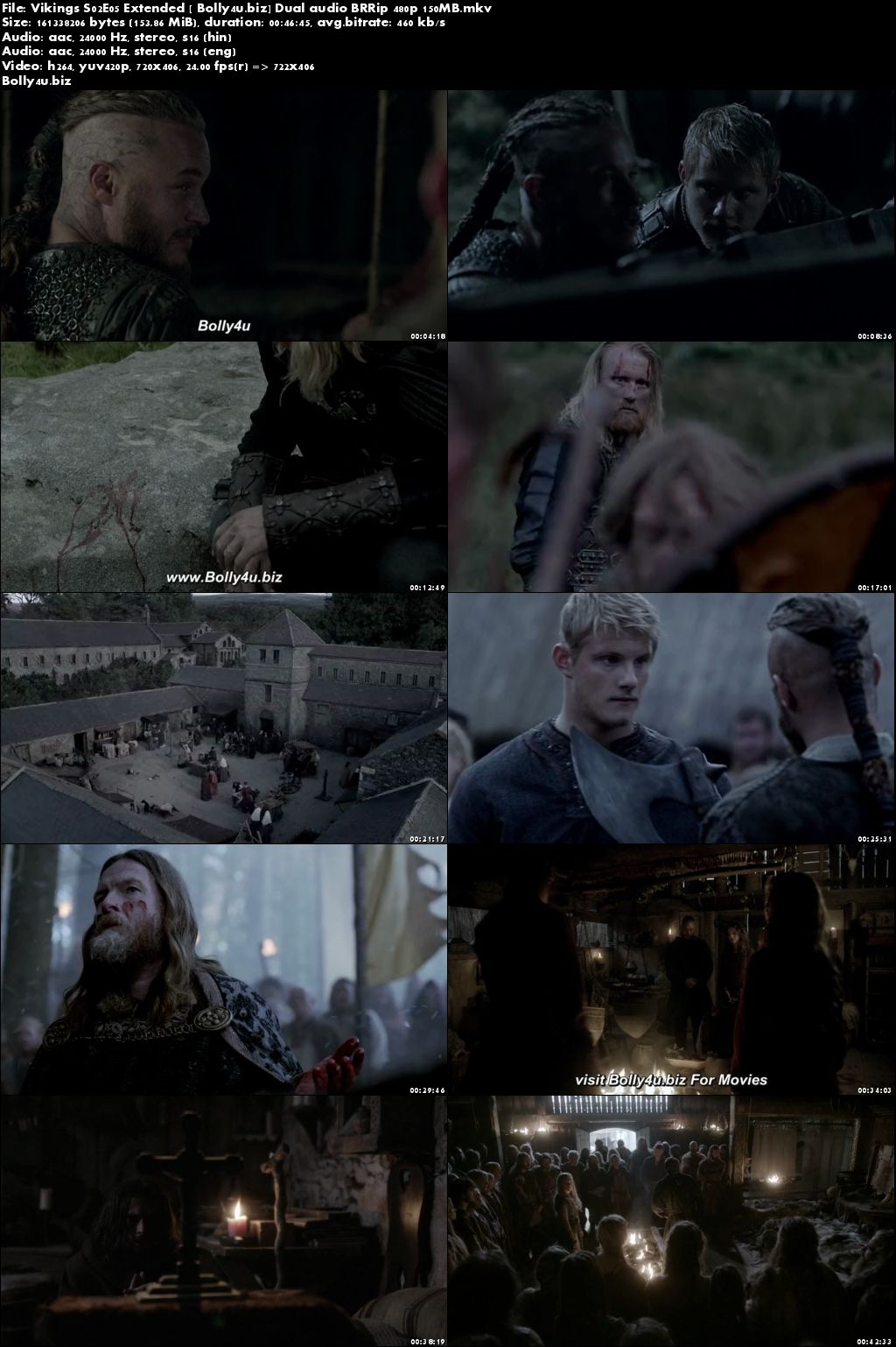 Vikings S02E05 Extended BRRip 150Mb Hindi Dual Audio 480p Download