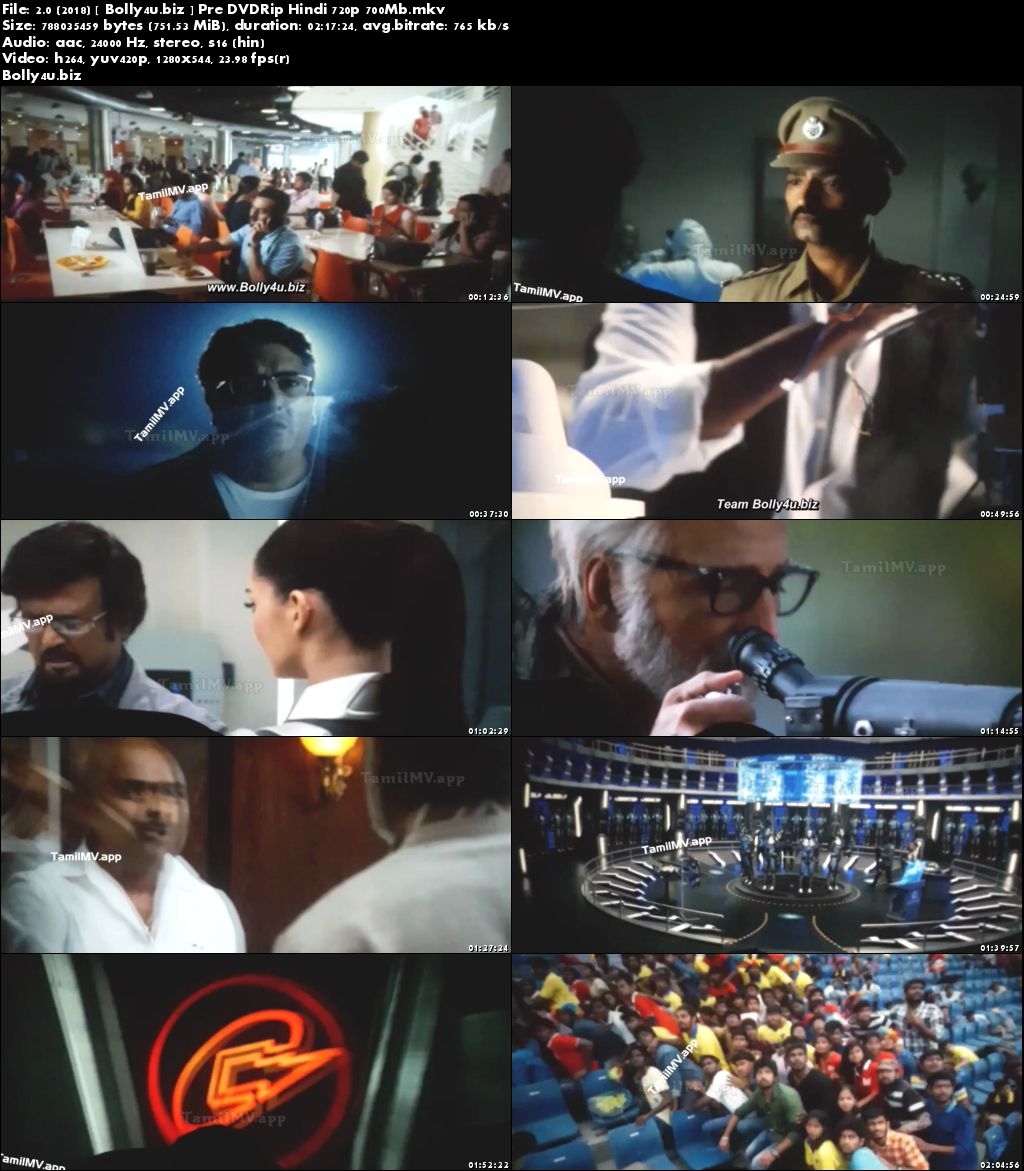 2.0 (2018) Pre DVDRip 700Mb Full Hindi Movie Download 720p