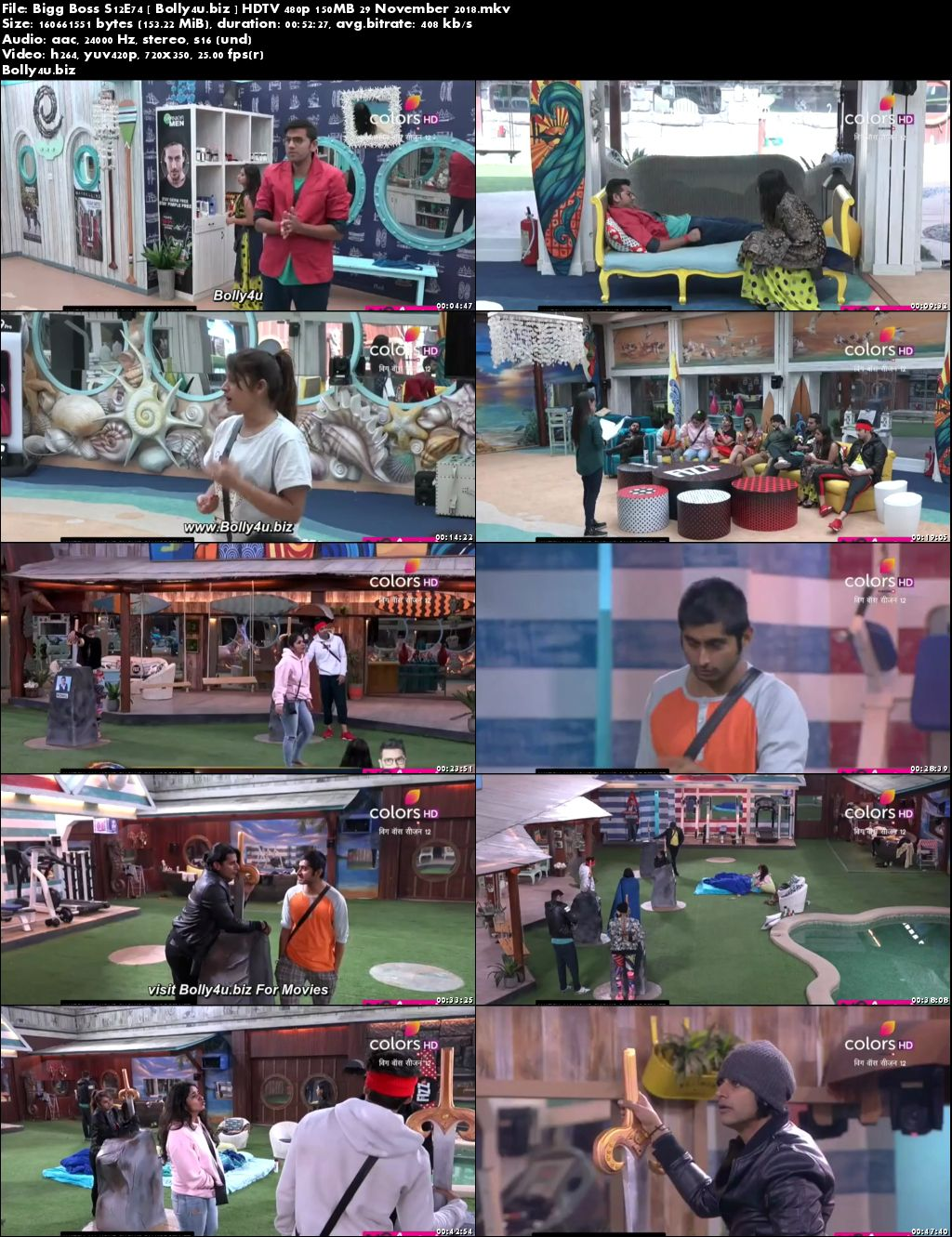 Bigg Boss S12E74 HDTV 480p 150MB 29 November 2018 Download
