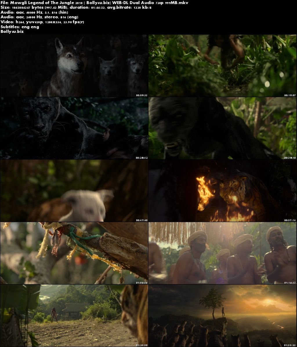 Mowgli Legend of The Jungle 2018 WEB-DL 999Mb Hindi Dual Audio 720p Download