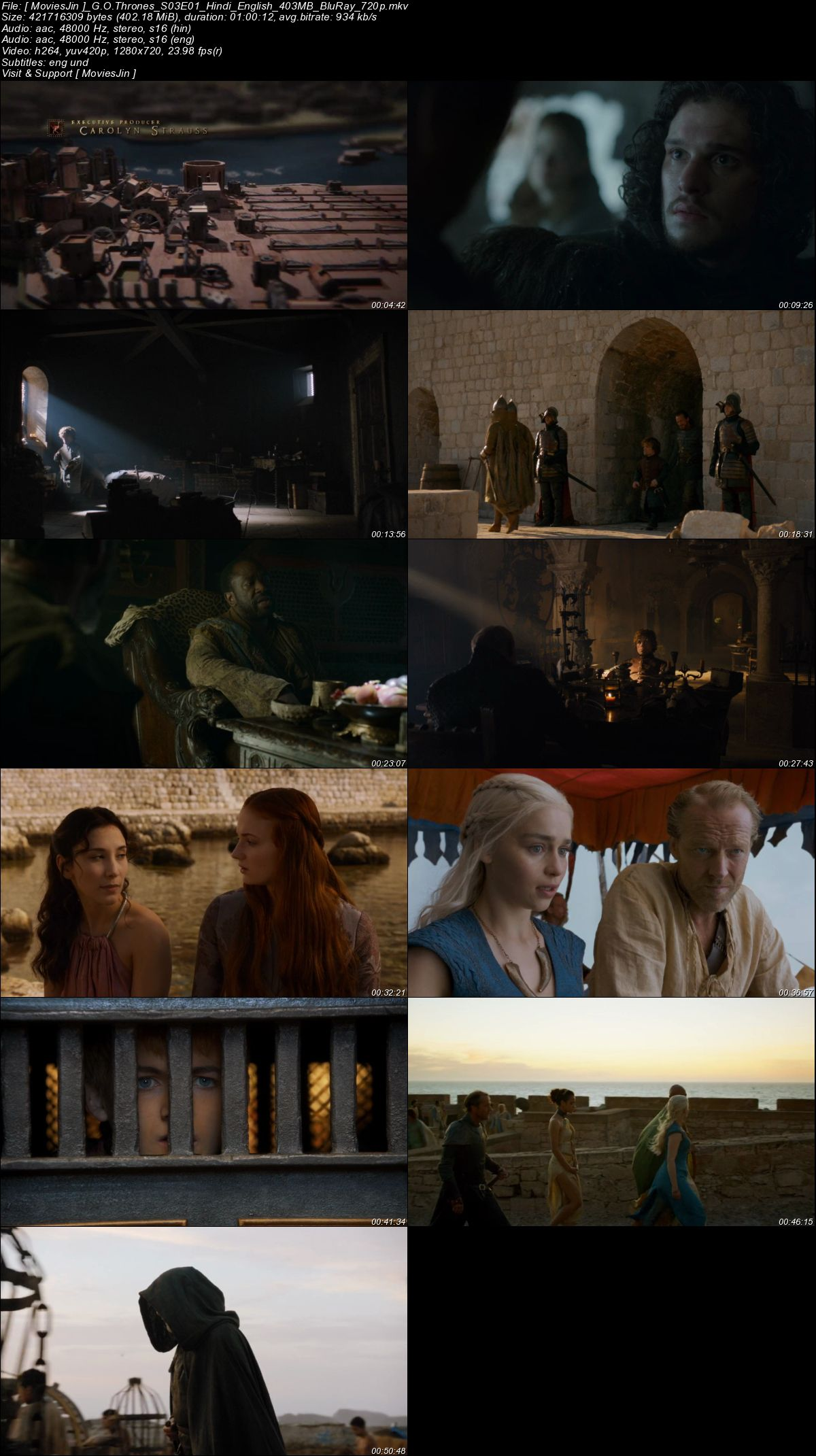 Watch Online Game of Thrones (GOT) S03E01 Hindi BluRay Dual Audio 400MB 720p Full season Download 300mb Movies