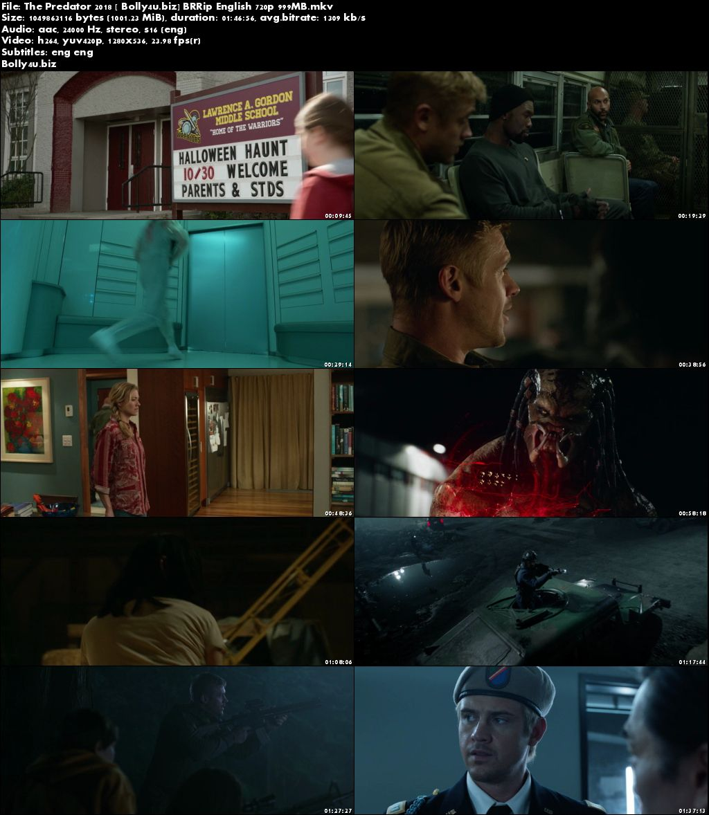 The Predator 2018 BRRip 999Mb English 720p ESub Download