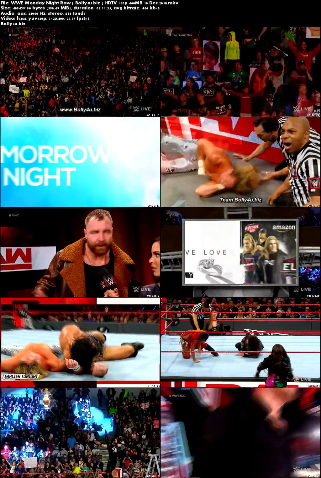 WWE Monday Night Raw HDTV 480p 400MB 10 Dec 2018 Download