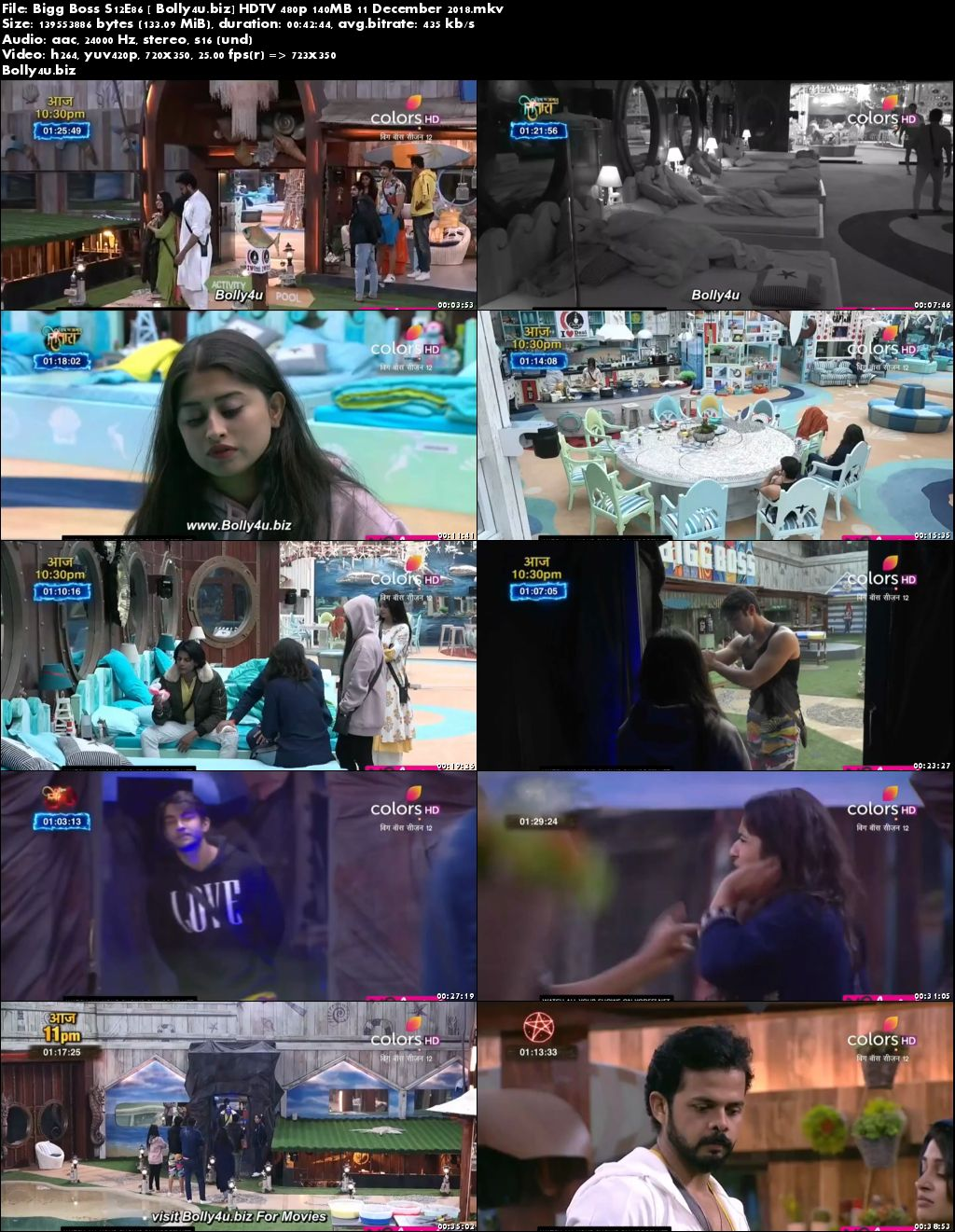 Bigg Boss S12E86 HDTV 480p 140MB 11 December 2018 Download