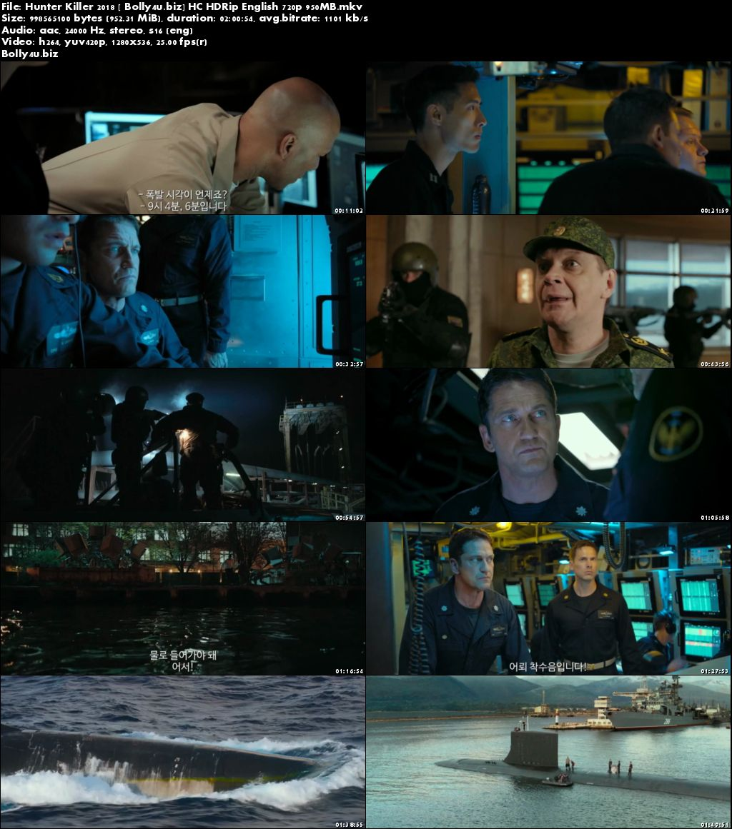 Hunter Killer 2018 HC HDRip 950Mb English 720p Download