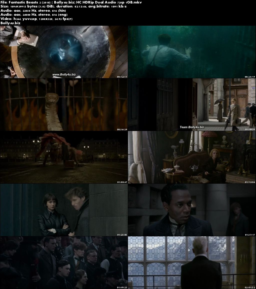 Fantastic Beasts The Crimes of Grindelwald 2018 HC HDRip 1GB Hindi Dual Audio 720p Download