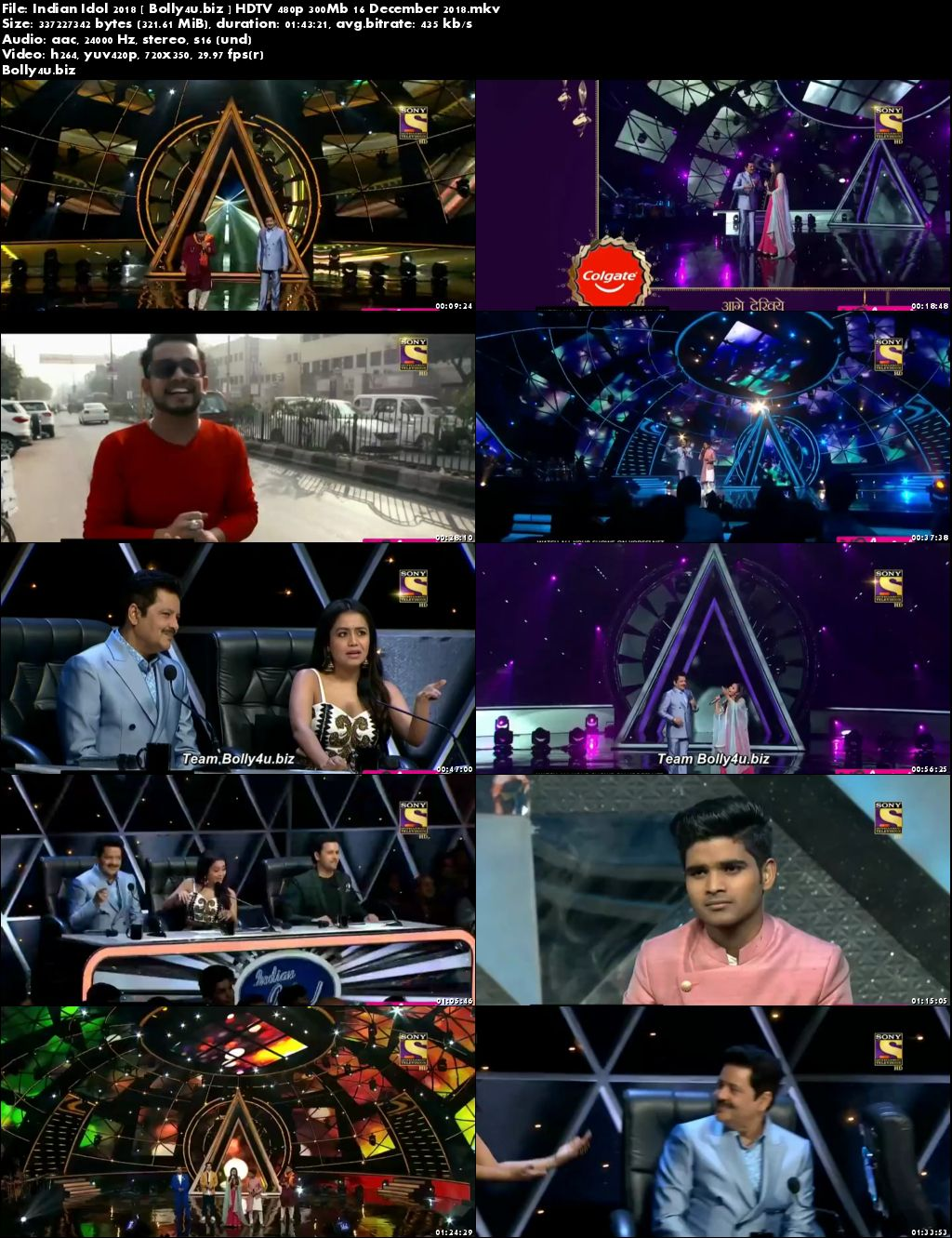 Indian Idol 2018 HDTV 480p 300Mb 16 December 2018 Download