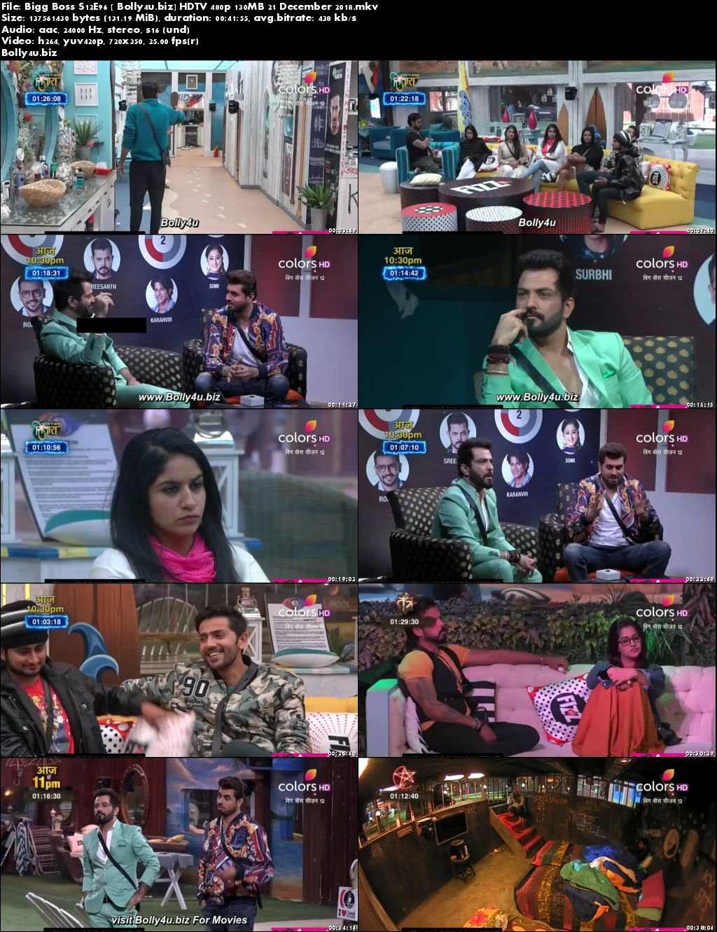 Bigg Boss S12E96 HDTV 480p 140MB 21 December 2018 Download