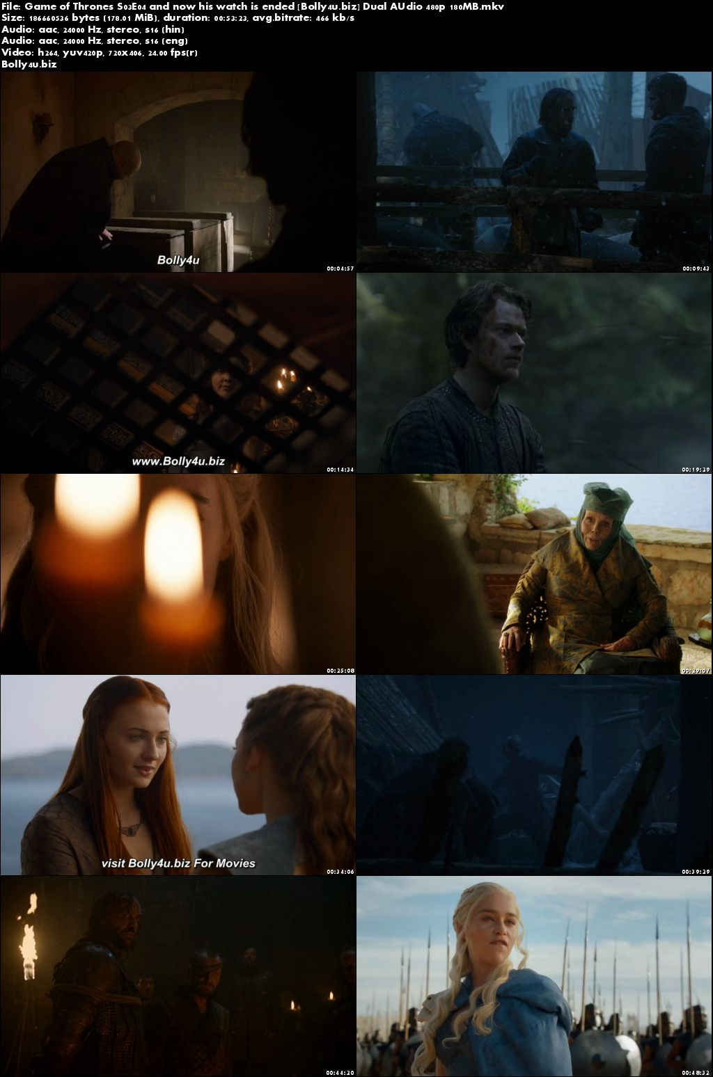 Game of Thrones S03E04 BluRay 180MB Hindi Dual Audio 480p Download