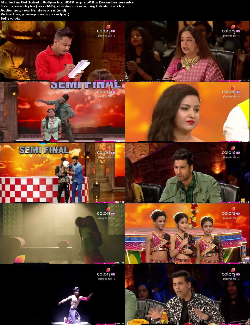 Indias Got Talent HDTV 480p 270MB 22 December 2018 Download