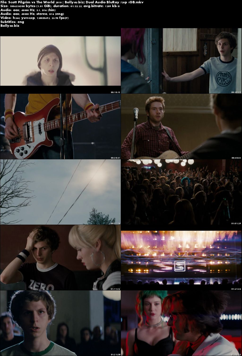 Scott Pilgrim vs The World 2010 BRRip 1GB Hindi Dual Audio 720p Download