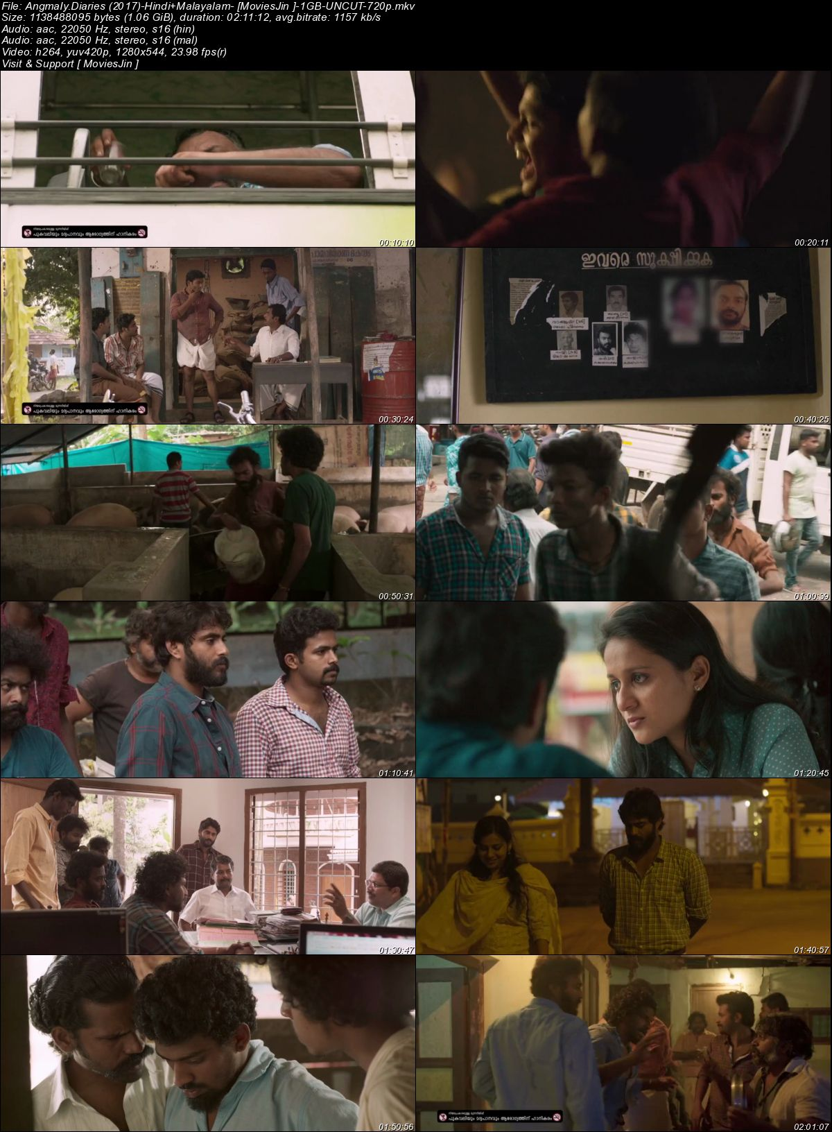 Watch Online Angamaly Diaries 2017 BRRip Hindi 1GB Dual Audio UNCUT 720p Esub Full Movie Download 300mbmovies