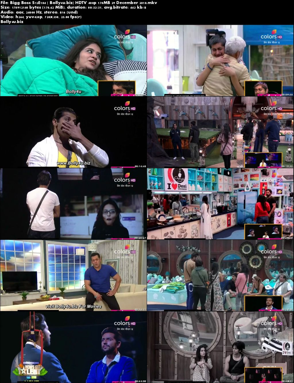Bigg Boss S12E104 HDTV 480p 170MB 29 December 2018 Download