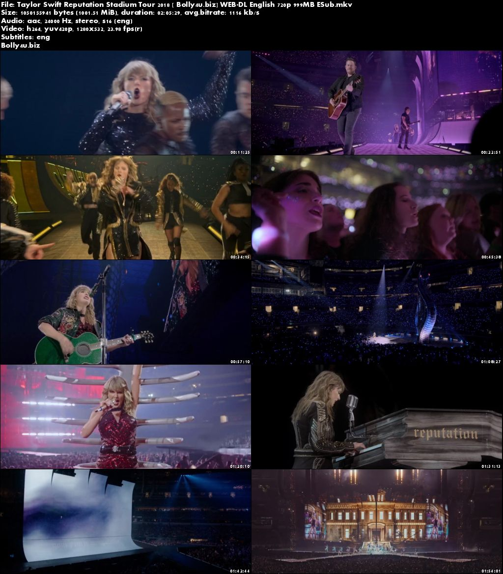 Taylor Swift Reputation Stadium Tour 2018 WEB-DL 350MB English 480p ESub Download