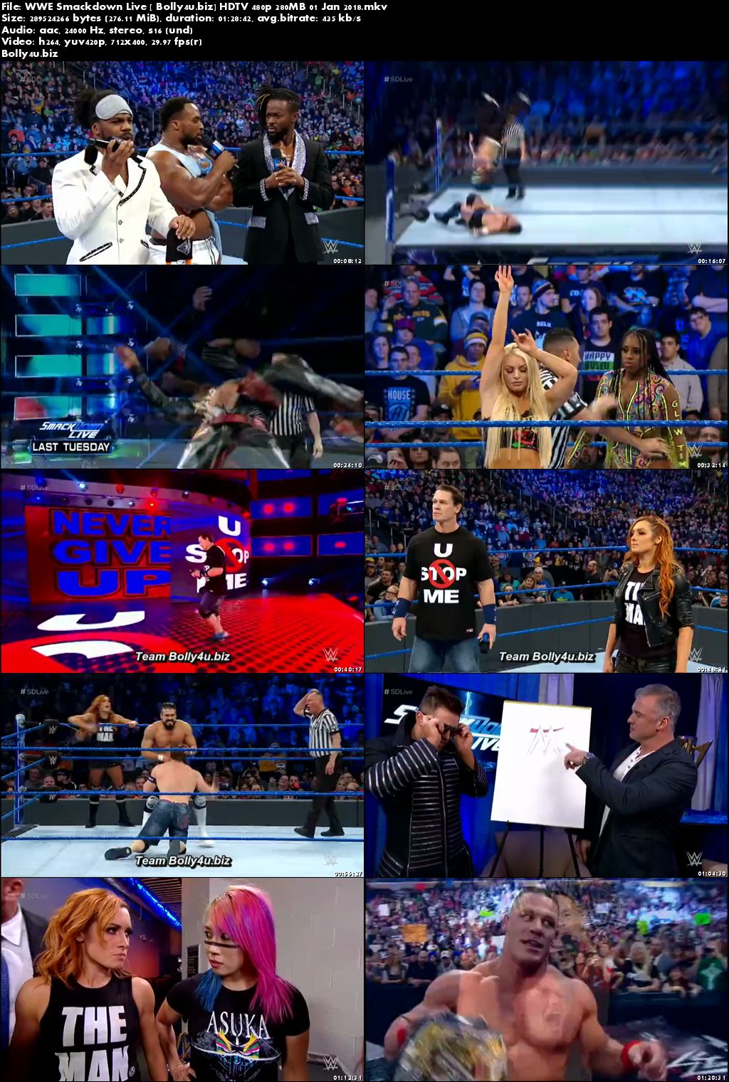 WWE Smackdown Live HDTV 480p 280MB 01 Jan 2018 Download