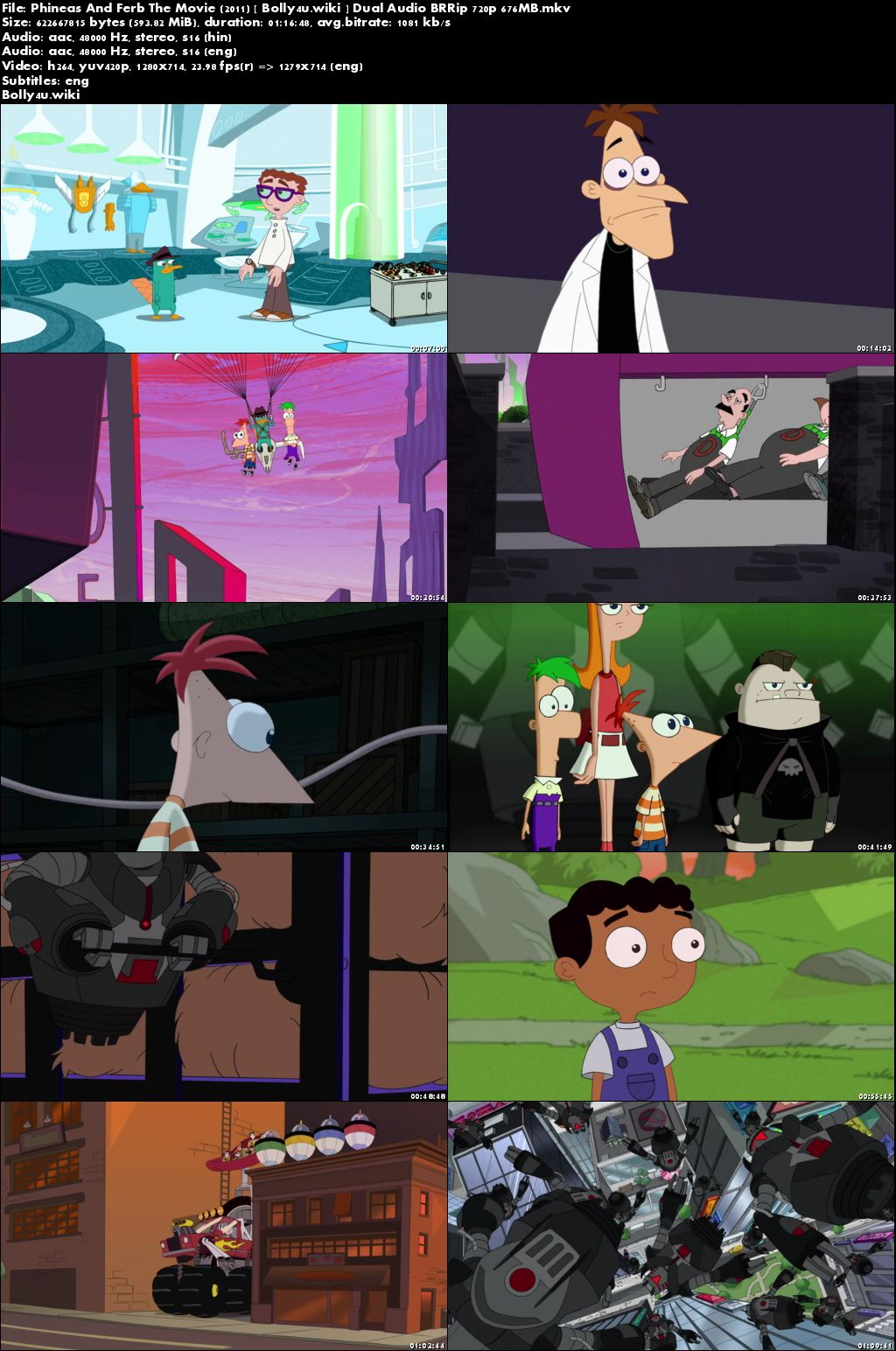 Phineas and Ferb the Movie Across the 2nd Dimension 2011 BRRip 550Mb Hindi Dual Audio 720p Download