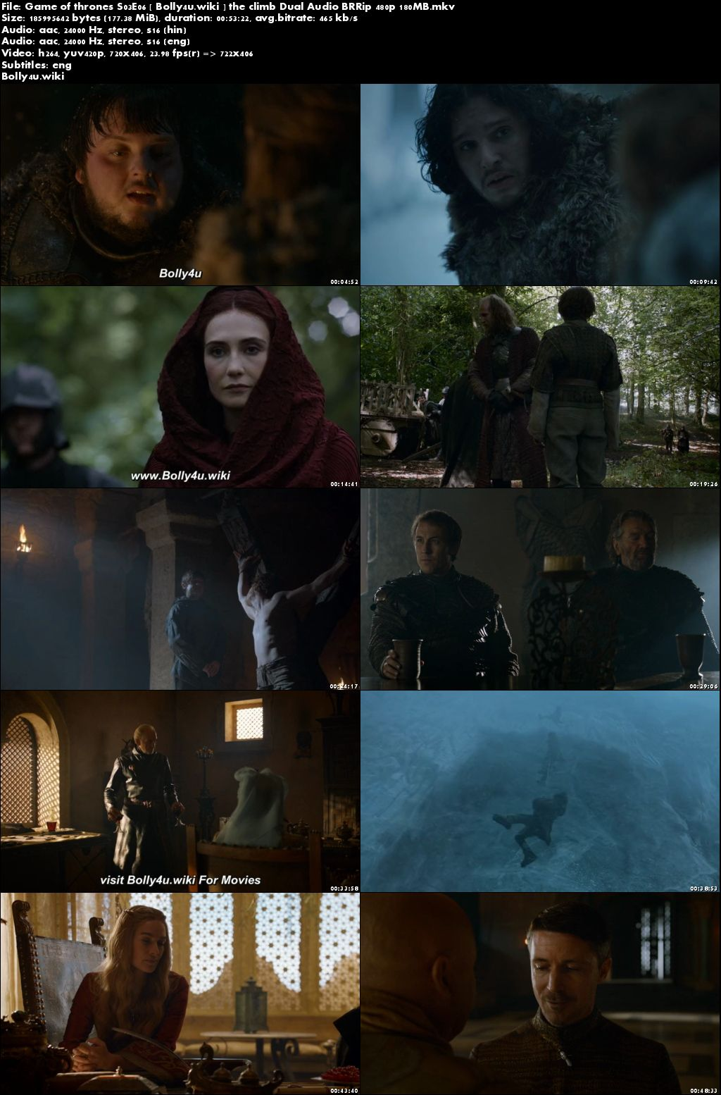 Game of Thrones S03E06 BRRip 180MB Hindi Dual Audio 480p Download