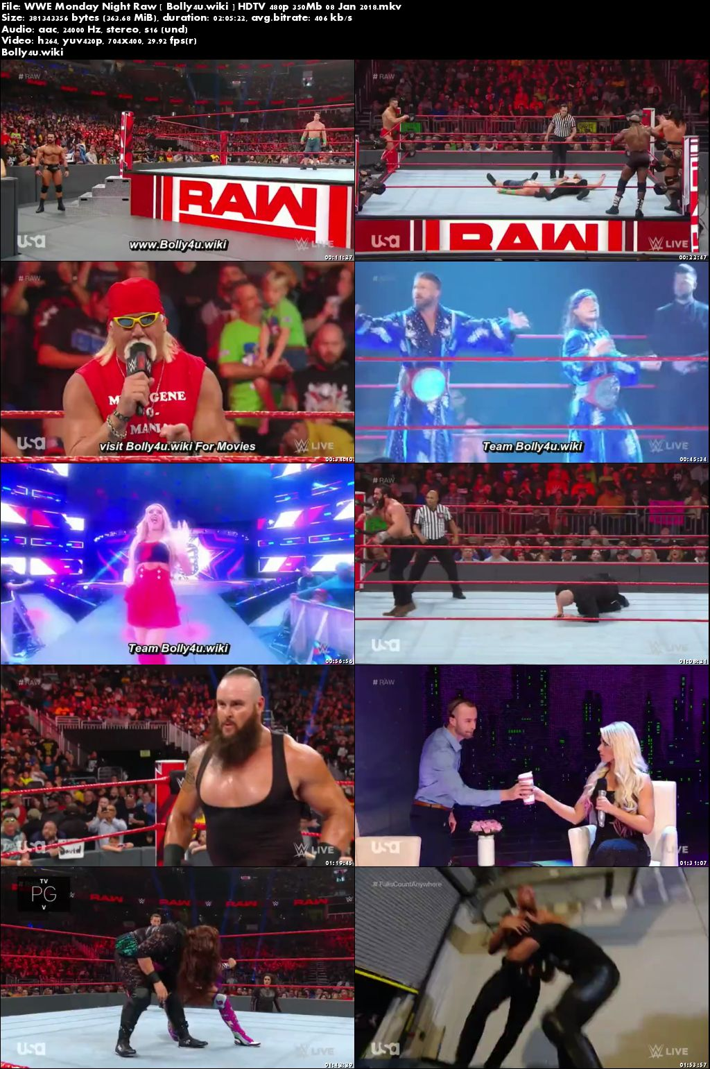 WWE Monday Night Raw HDTV 480p 350Mb 07 Jan 2018 Download