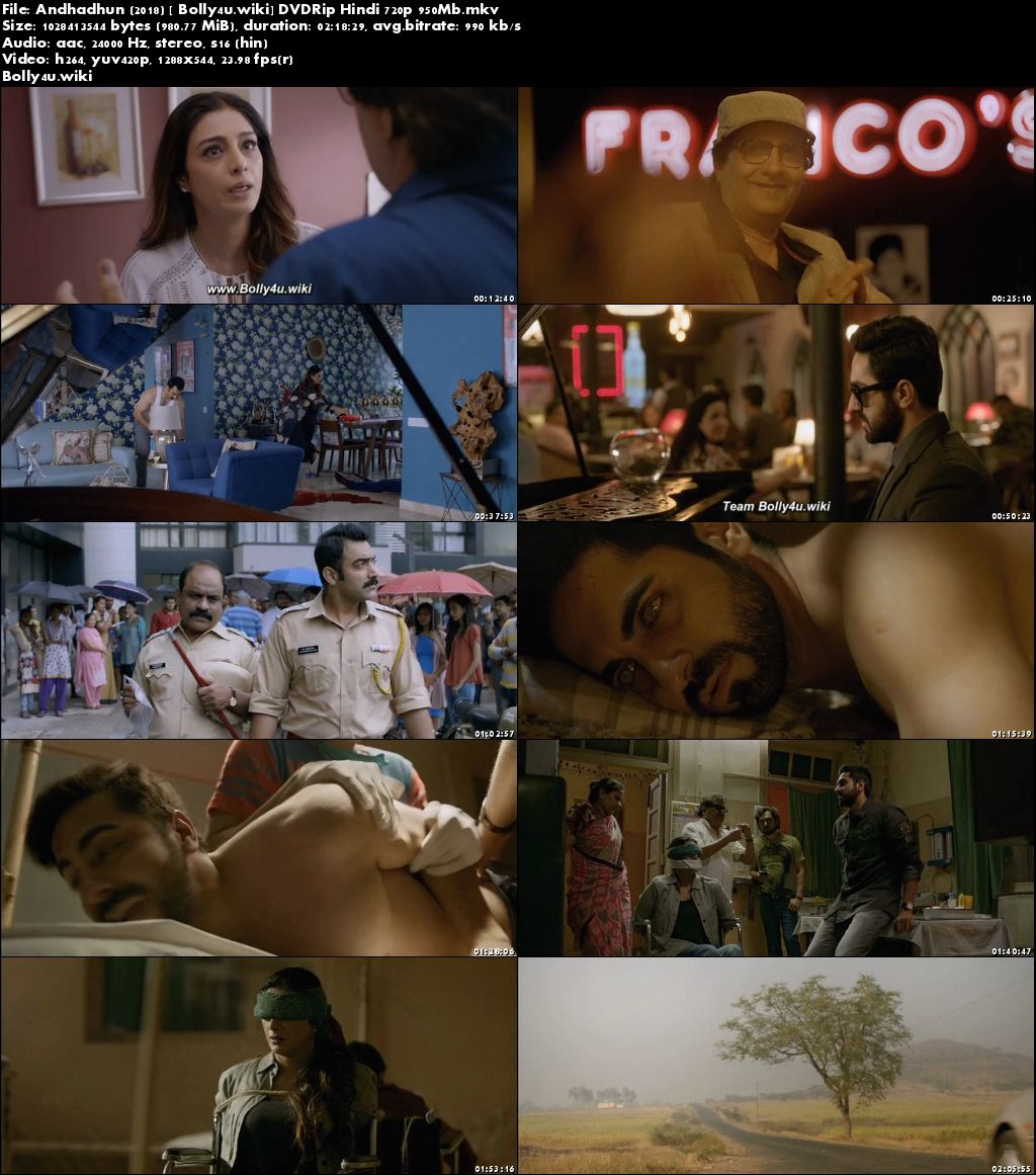 Andhadhun 2018 DVDRip 950Mb Full Hindi Movie Download 720p
