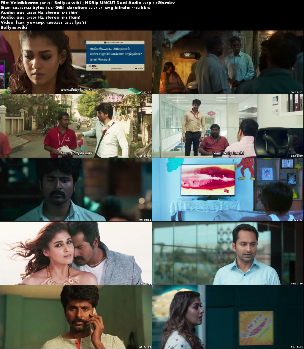 Velaikkaran 2017 HDRip 450MB UNCUT Hindi Dual Audio 480p Download