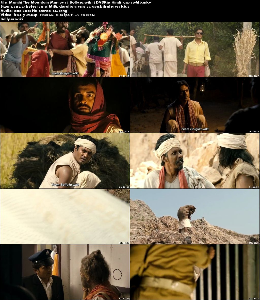 Manjhi The Mountain Man 2015 DVDRip 350Mb Hindi 480p Download