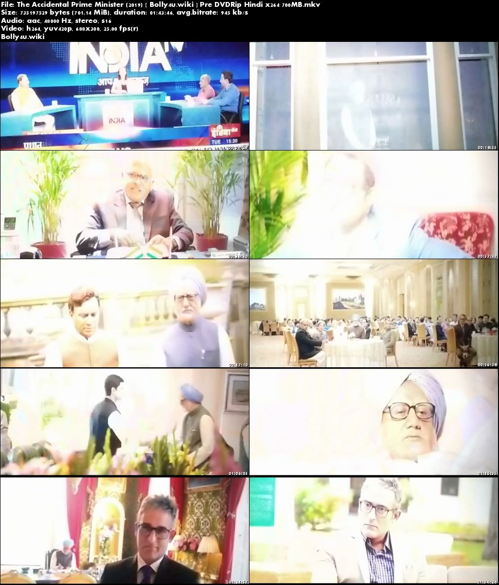 The Accidental Prime Minister 2019 Pre DVDRip 700MB Hindi x264