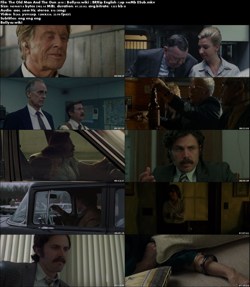 The Old Man And The Gun 2018 BRRip 300Mb English 480p ESub Download