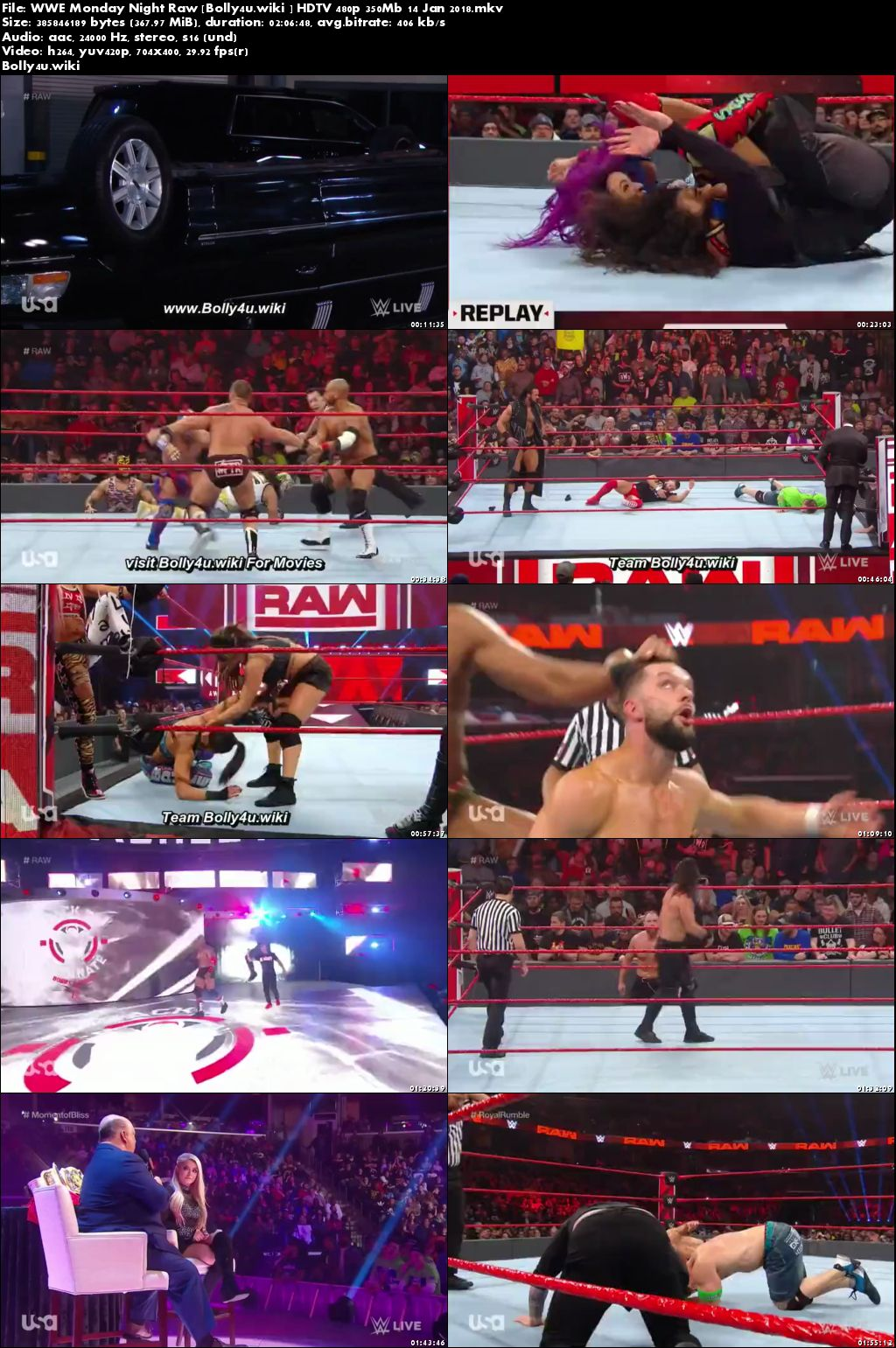 WWE Monday Night Raw HDTV 480p 350Mb 14 Jan 2018 Download