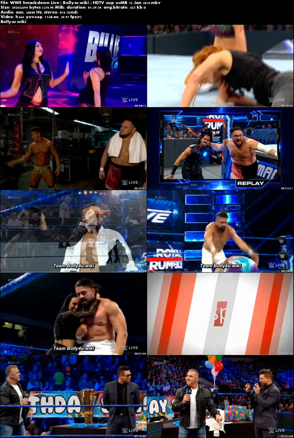 WWE Smackdown Live HDTV 480p 280MB 15 Jan 2018 Download