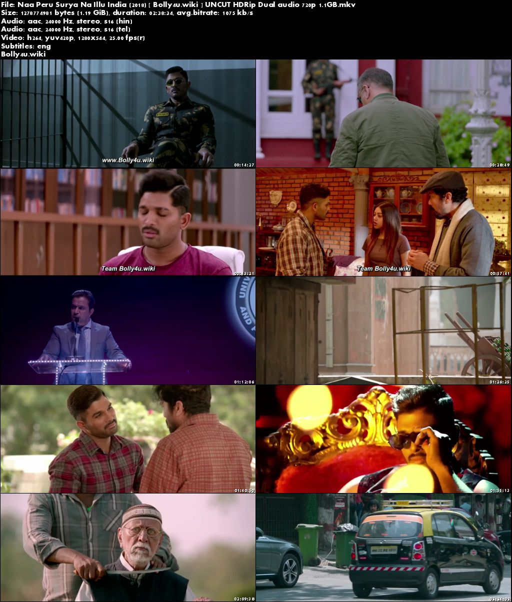 Naa Peru Surya Na Illu India 2018 HDRip UNCUT 500MB Hindi Dual Audio ORG 480p Download