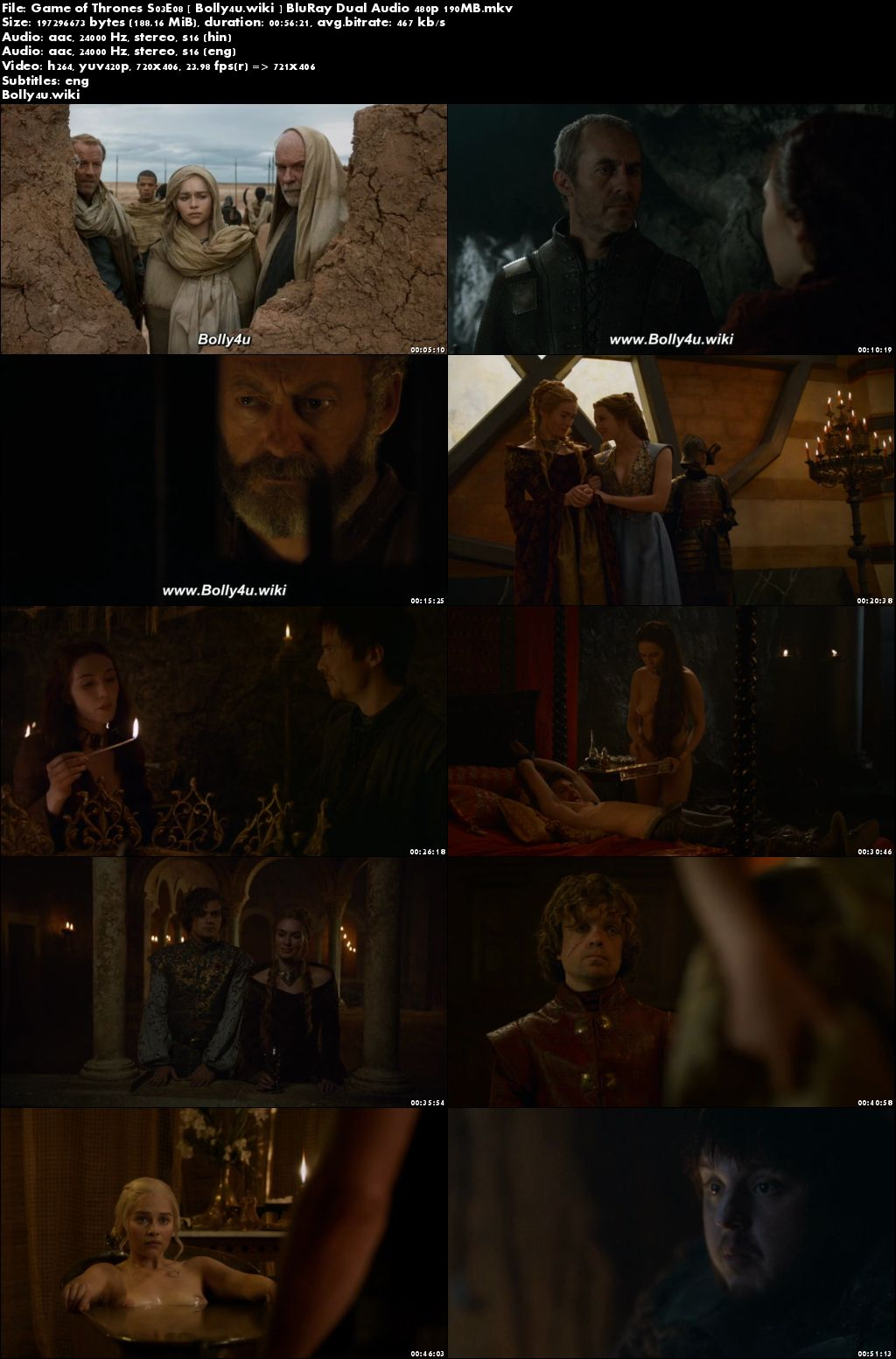 Game of Thrones S03E08 BluRay 200Mb Hindi Dual Audio 480p Download
