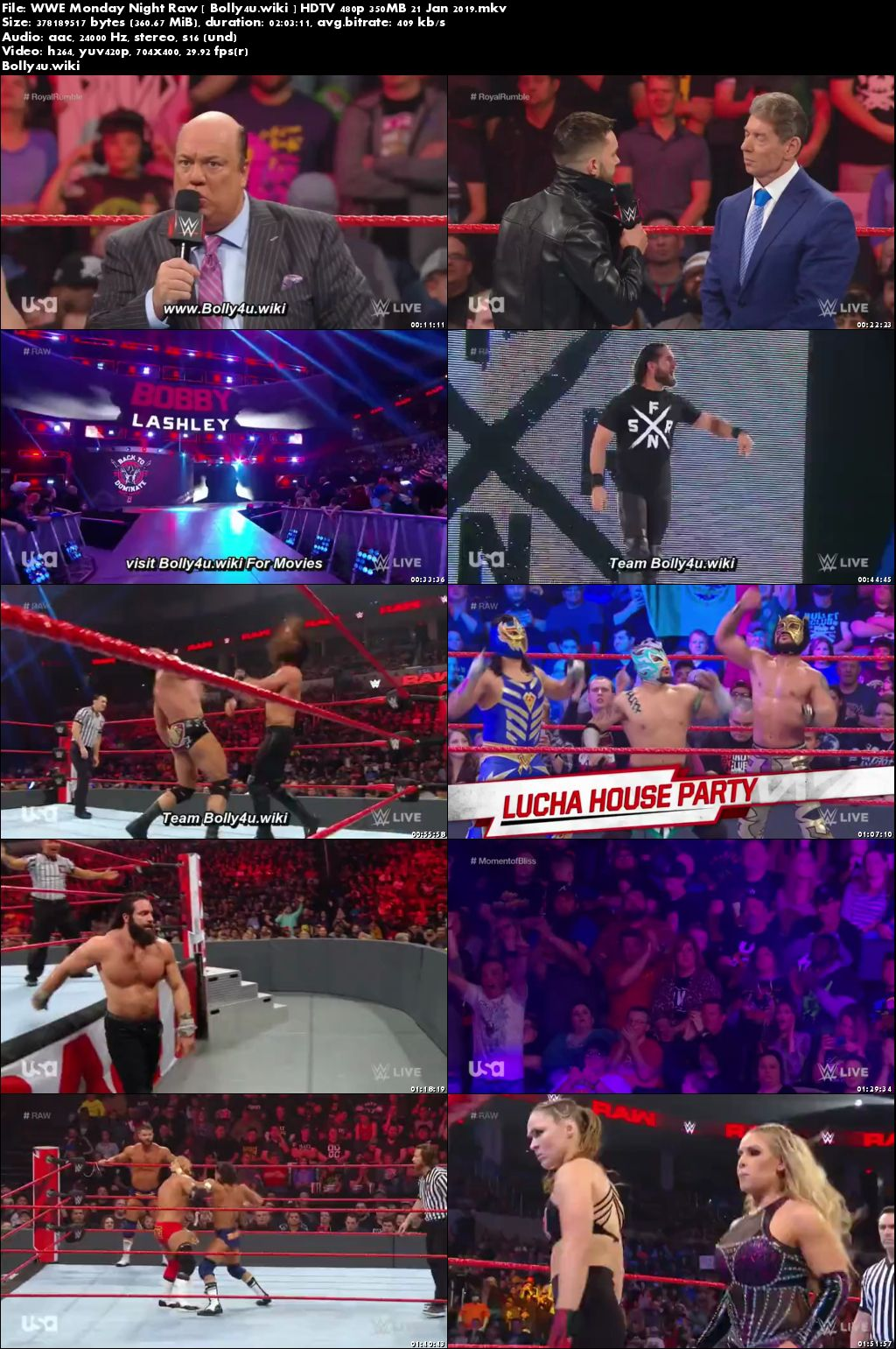 Wwe monday night raw hdtv 480p 350mb 21 jan 2019 - Monday night raw images ...