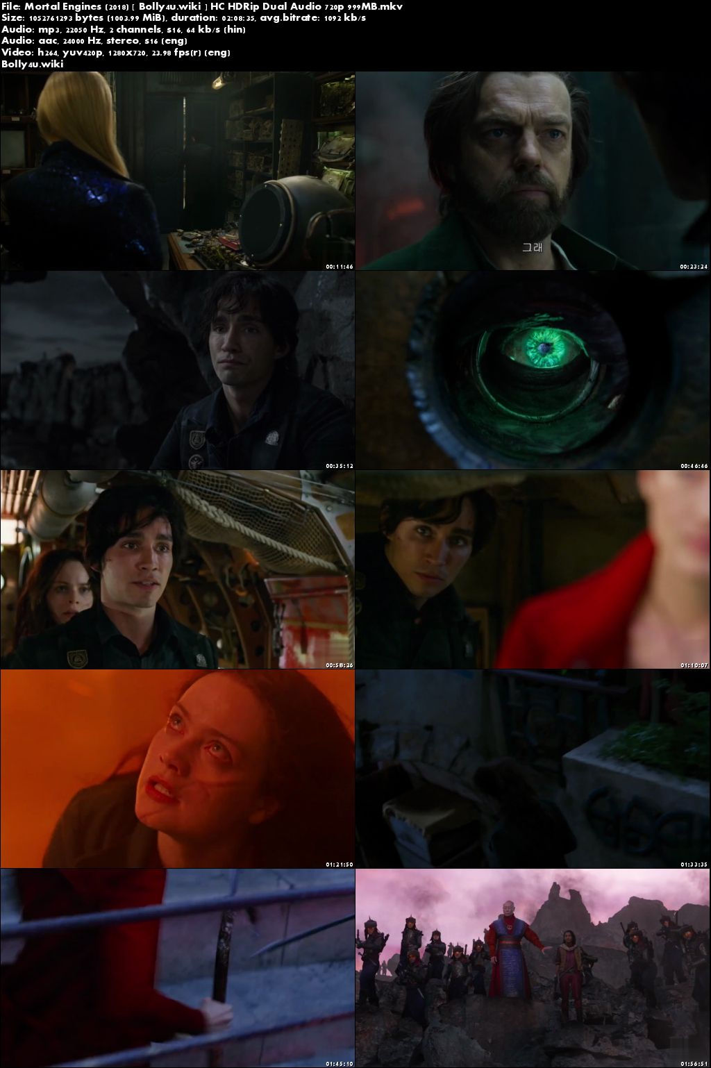 Mortal Engines 2018 HC HDRip 999MB Hindi Dual Audio 720p Download