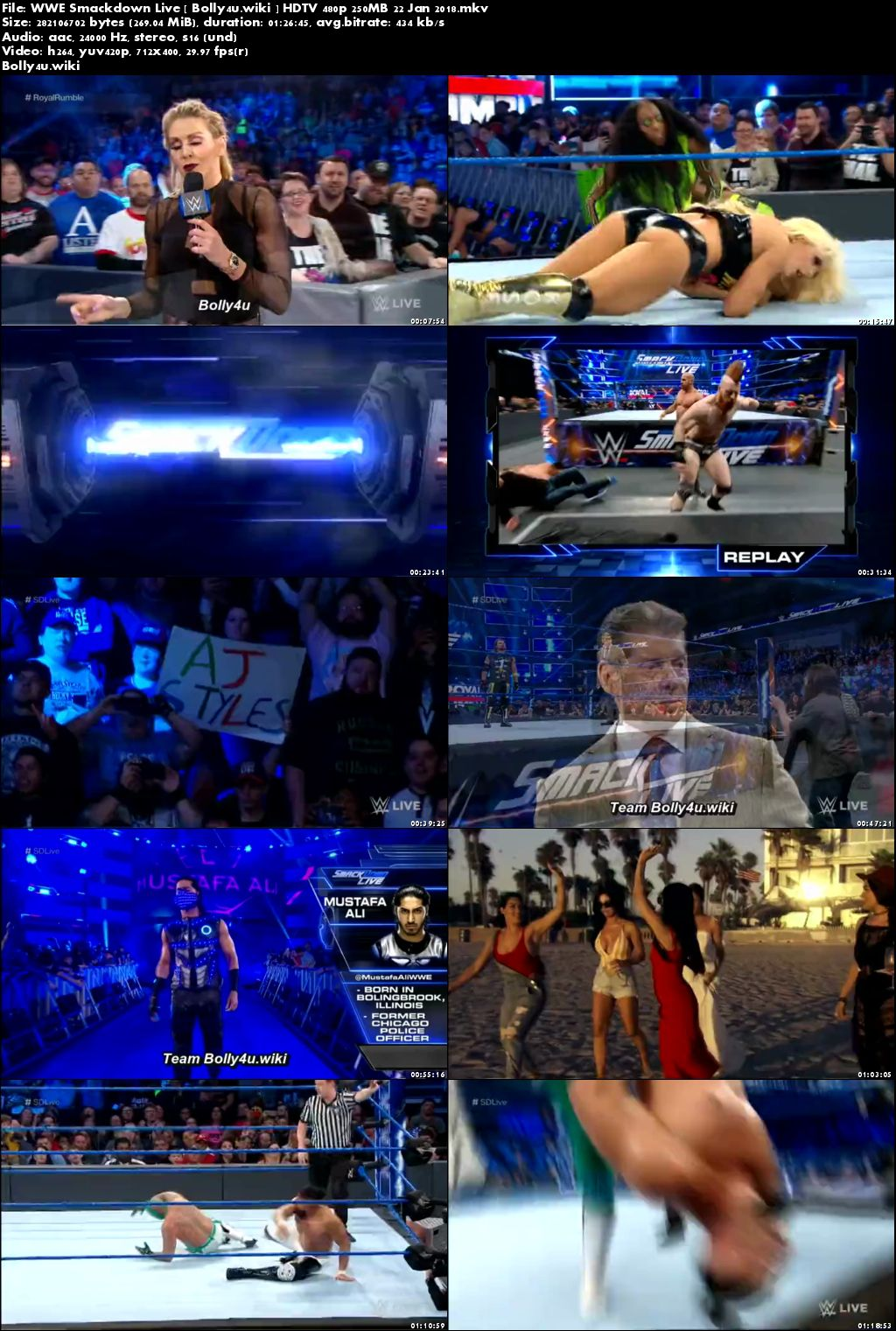 WWE Smackdown Live HDTV 480p 250MB 22 Jan 2018 Download