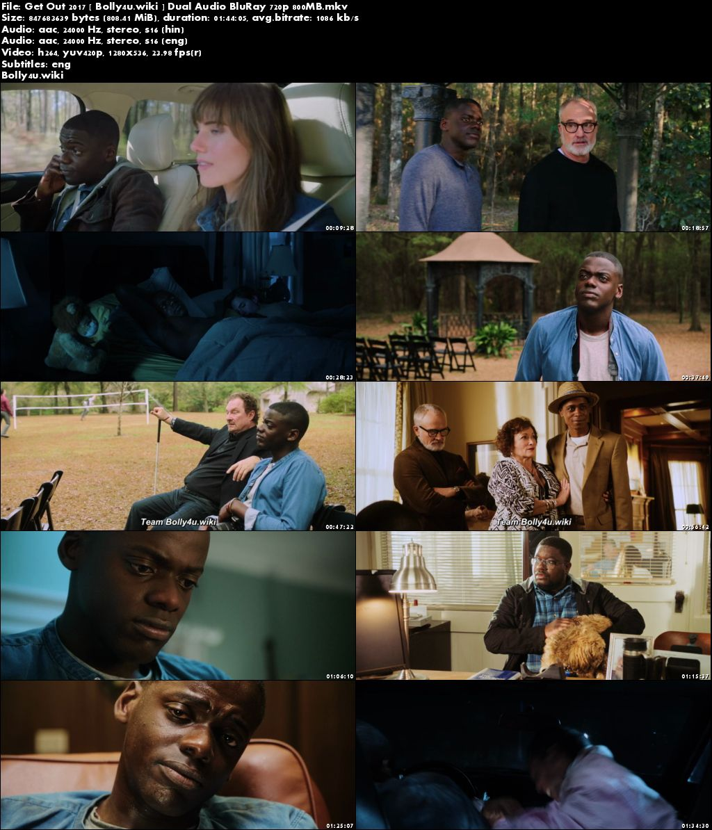 Get Out 2017 BluRay 800Mb Hindi Dual Audio ORG 720p Download