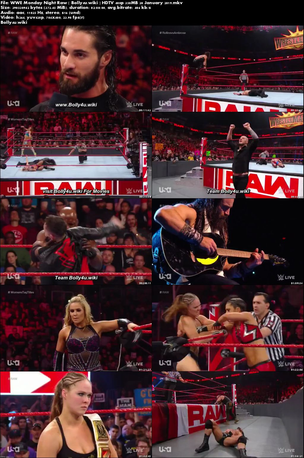 WWE Monday Night Raw HDTV 480p 350MB 28 January 2019 Download