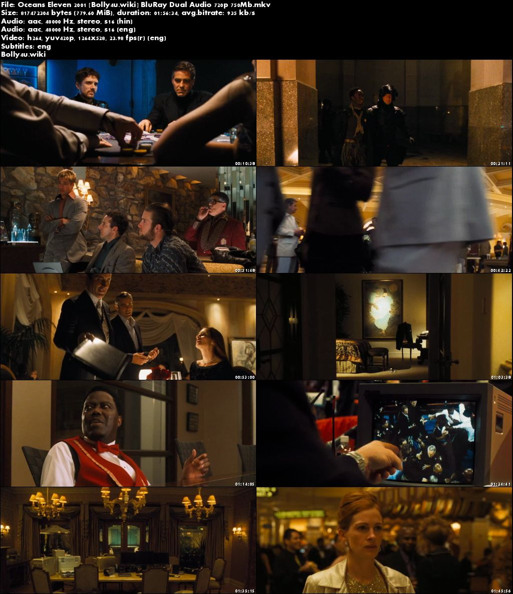 Oceans Eleven 2001 BluRay 750Mb Hindi Dual Audio 720p Download