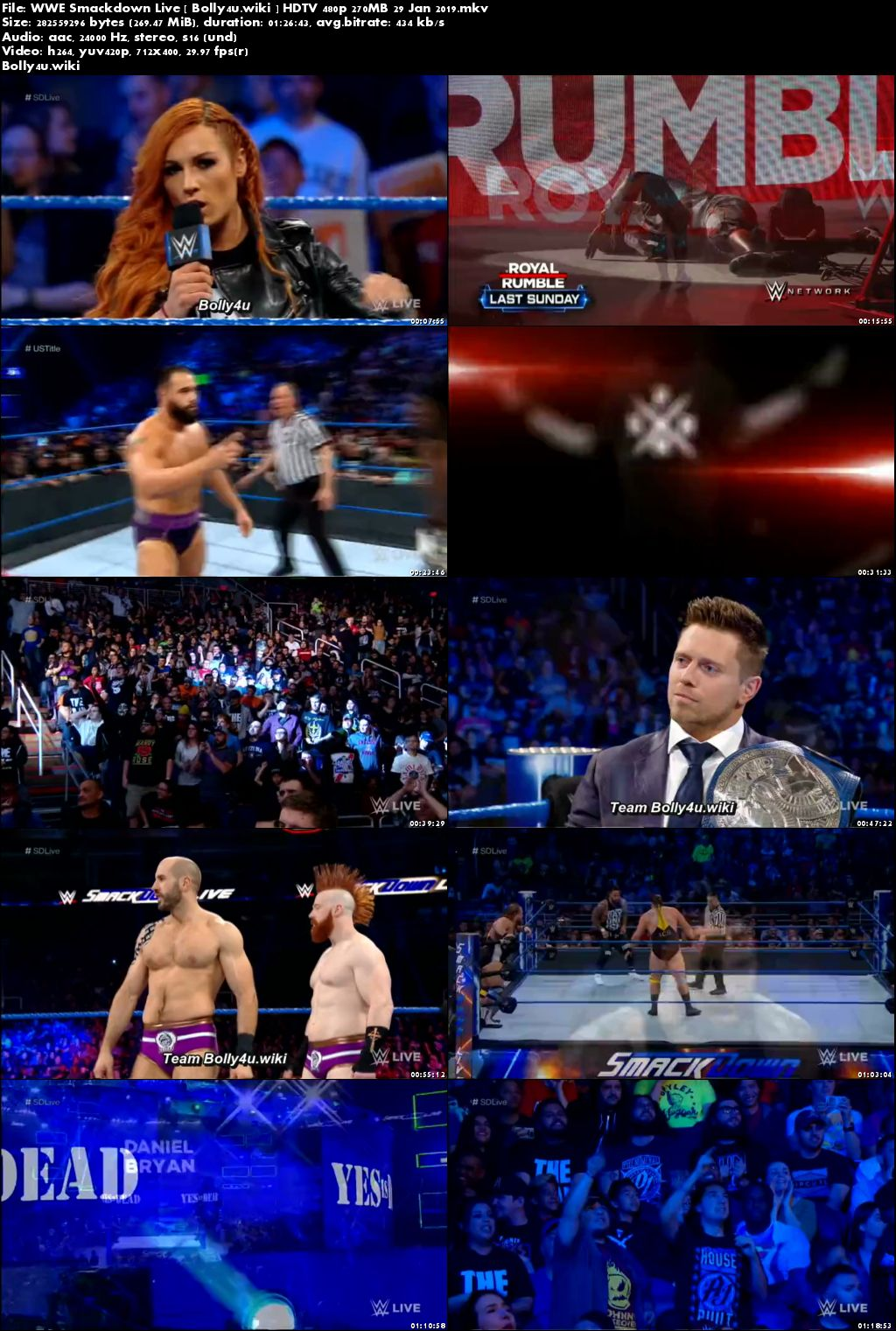 WWE Smackdown Live HDTV 480p 270MB 29 Jan 2019 Download