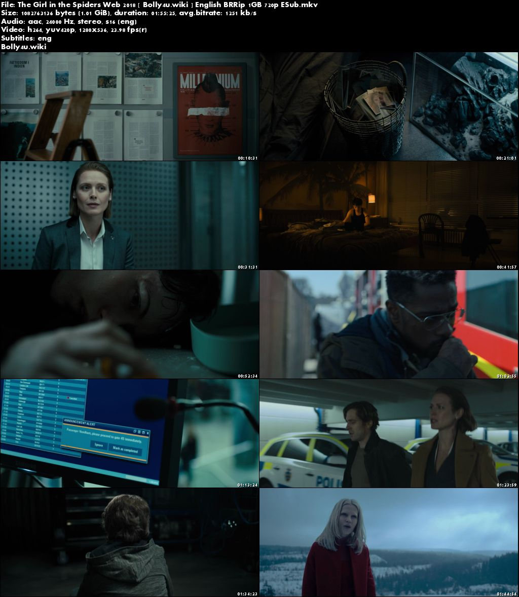 The Girl in the Spiders Web 2018 BRRip 300MB English 480p ESub Download