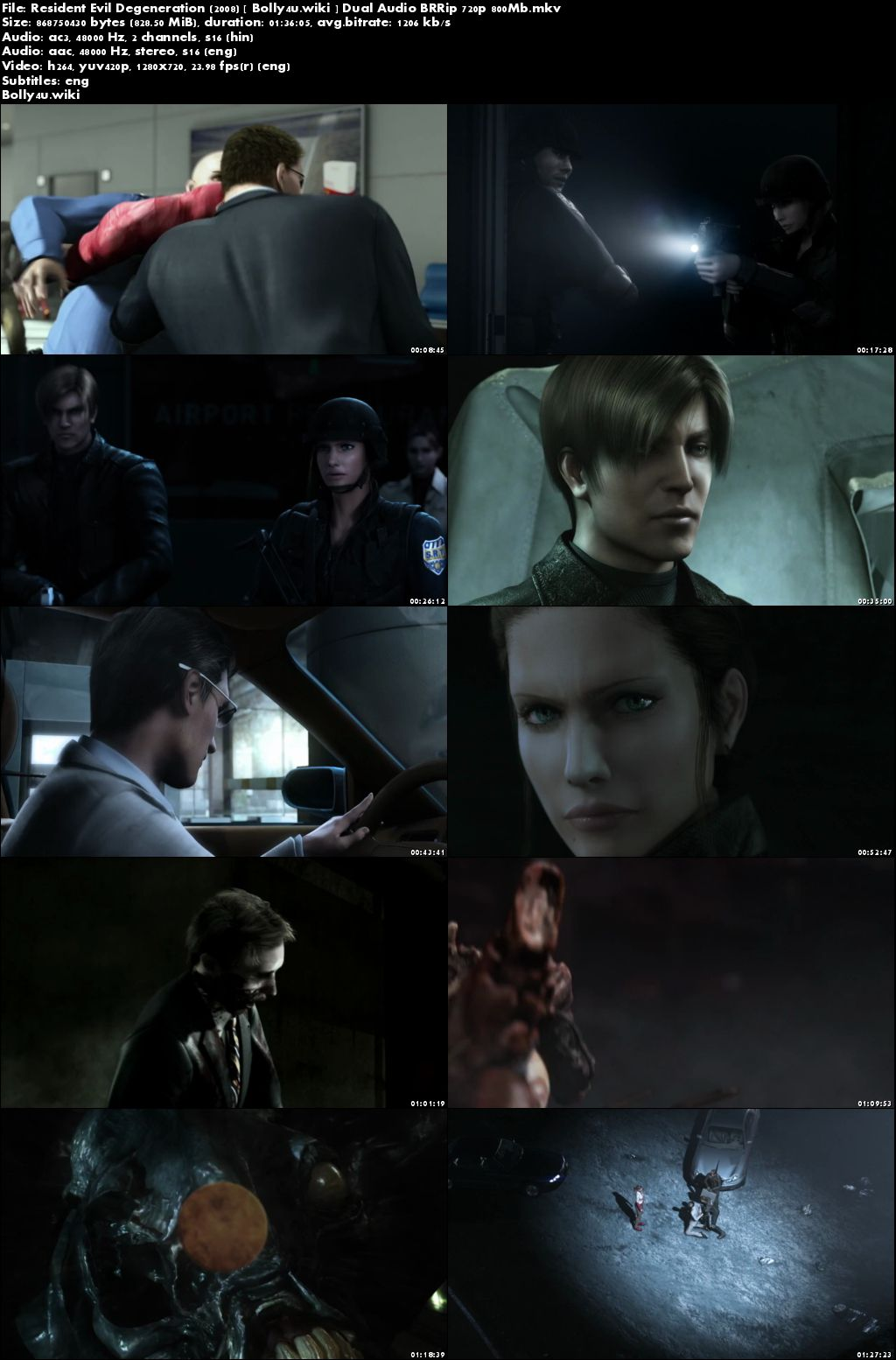 Resident Evil Degeneration 2008 BRRip 300Mb Hindi Dual Audio 480p Download
