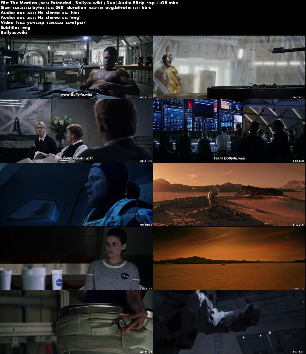 The Martian 2015 BRRip 450Mb Extended Hindi Dual Audio 480p Download